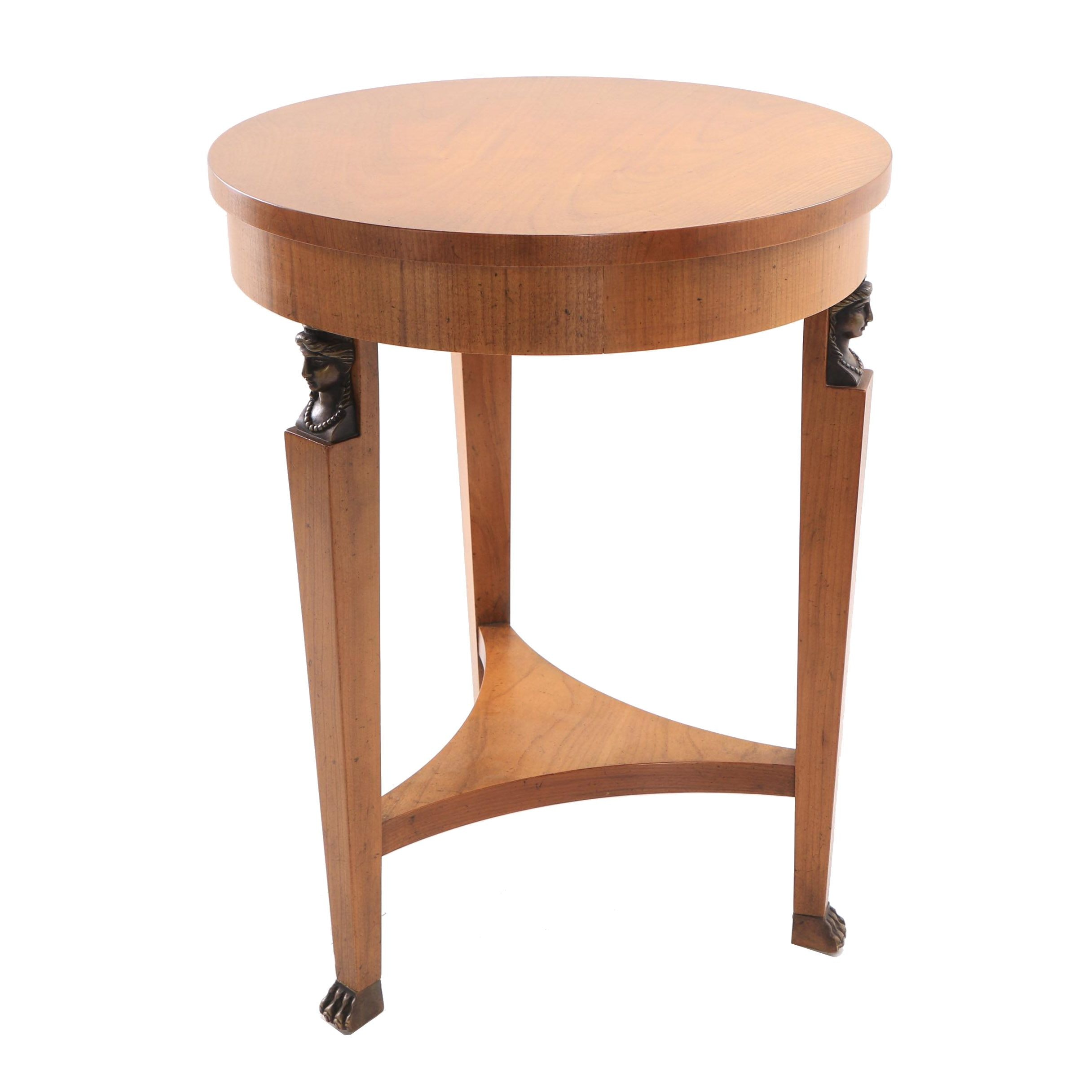 Empire Style Maple Accent Table by Baker Furniture, Late 20th Century