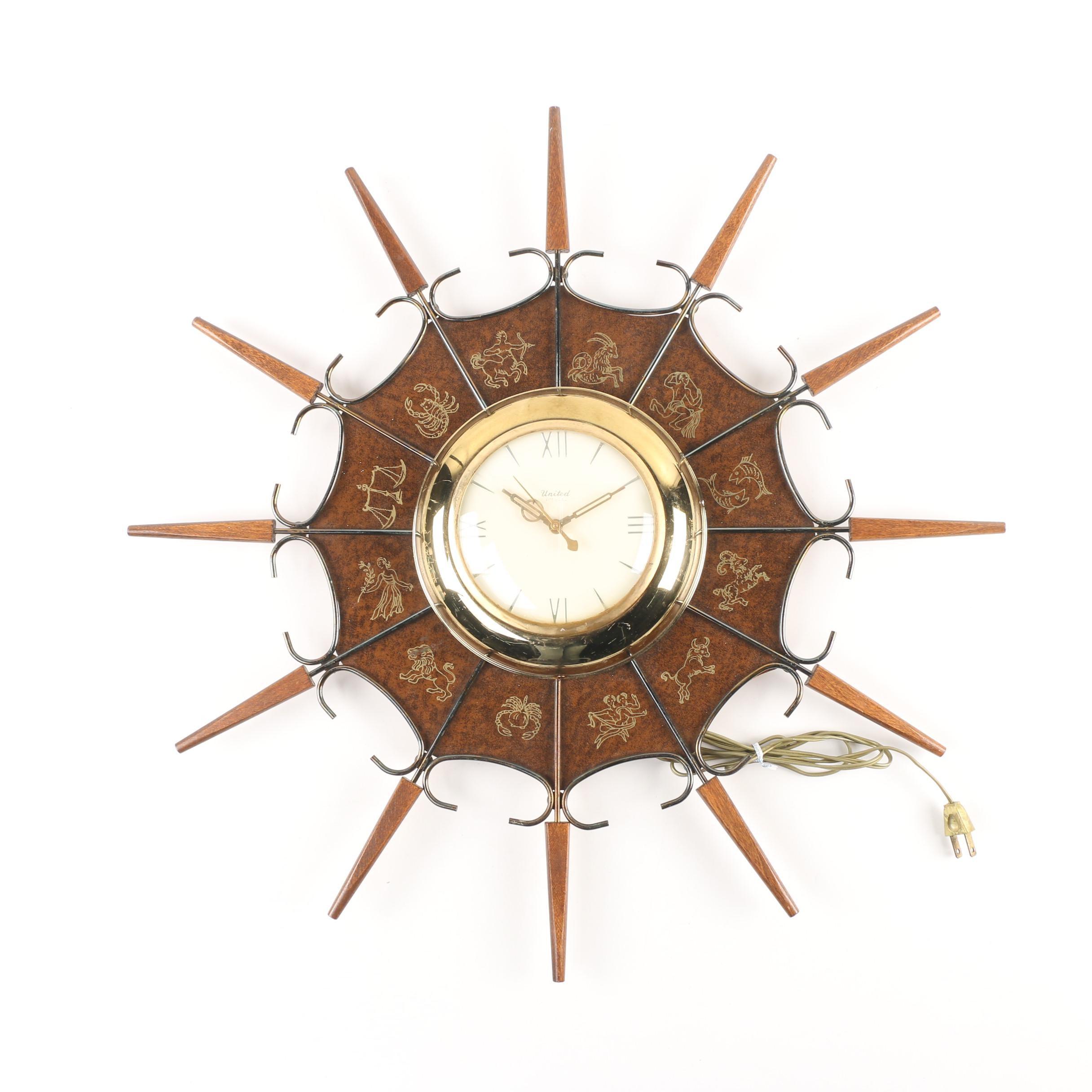 United Zodiac Sunburst Wall Clock, Mid-Century