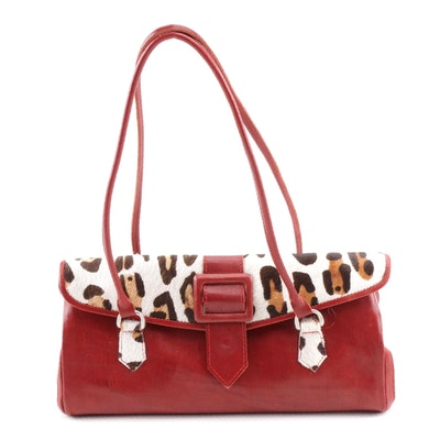 Leaders in Leather Red Leather and Animal Print Calf Hair Shoulder Bag 8c12aa8e8609b