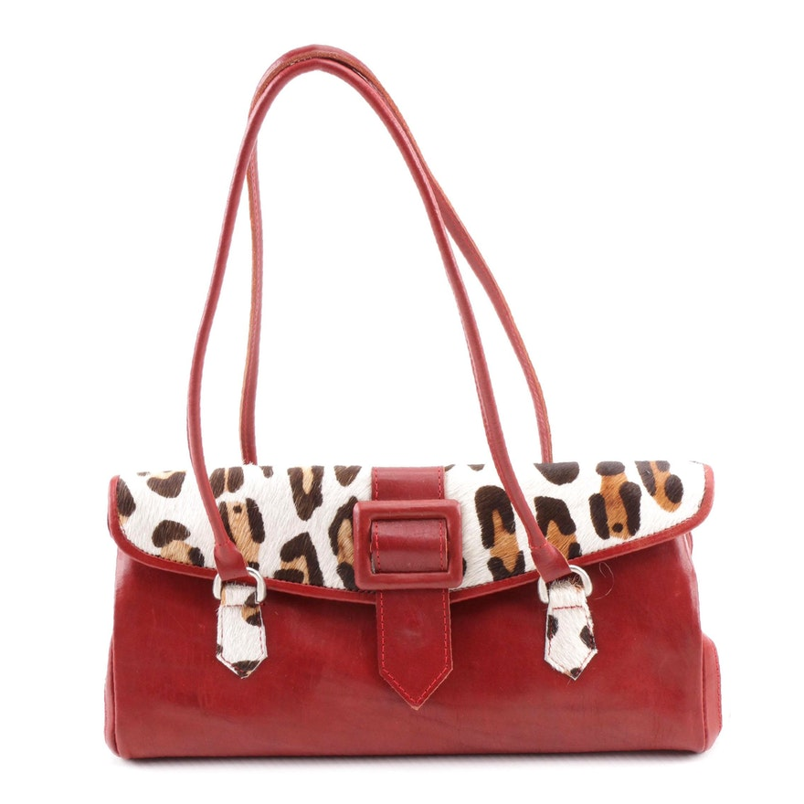 ef056ba06ff6 Leaders in Leather Red Leather and Animal Print Calf Hair Shoulder Bag ...