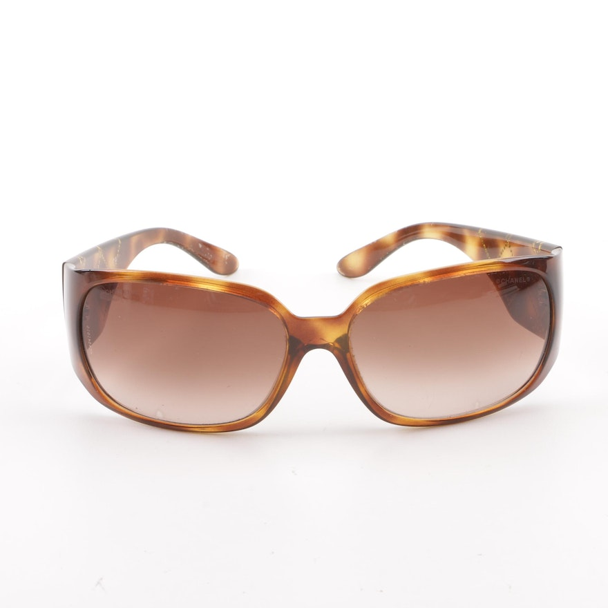 419772a6f3 Chanel Tortoiseshell-Style Shield Sunglasses with Case   EBTH