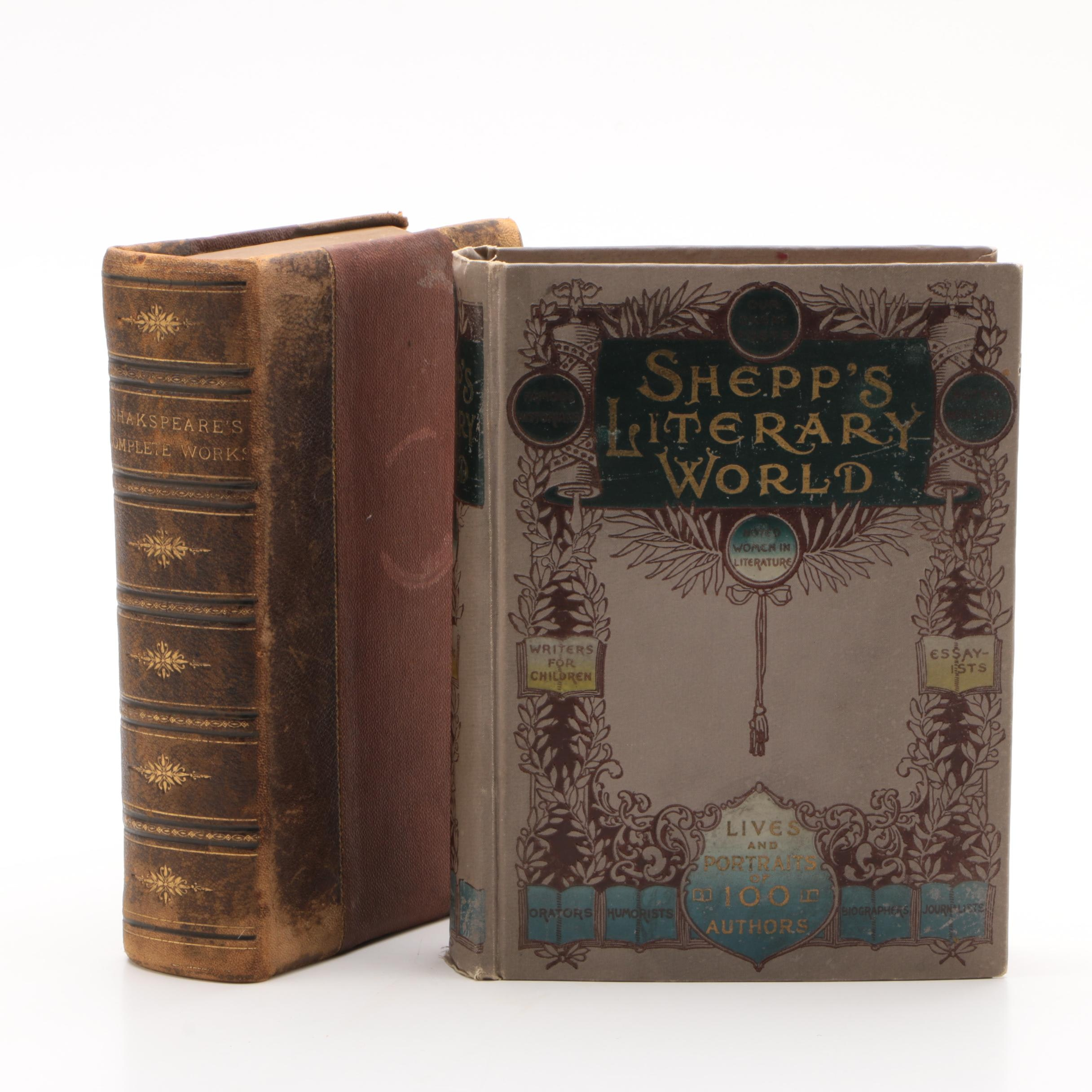 "Antique ""Shakespeare's Complete Works"" and ""Shepp's Literary World"" Books"