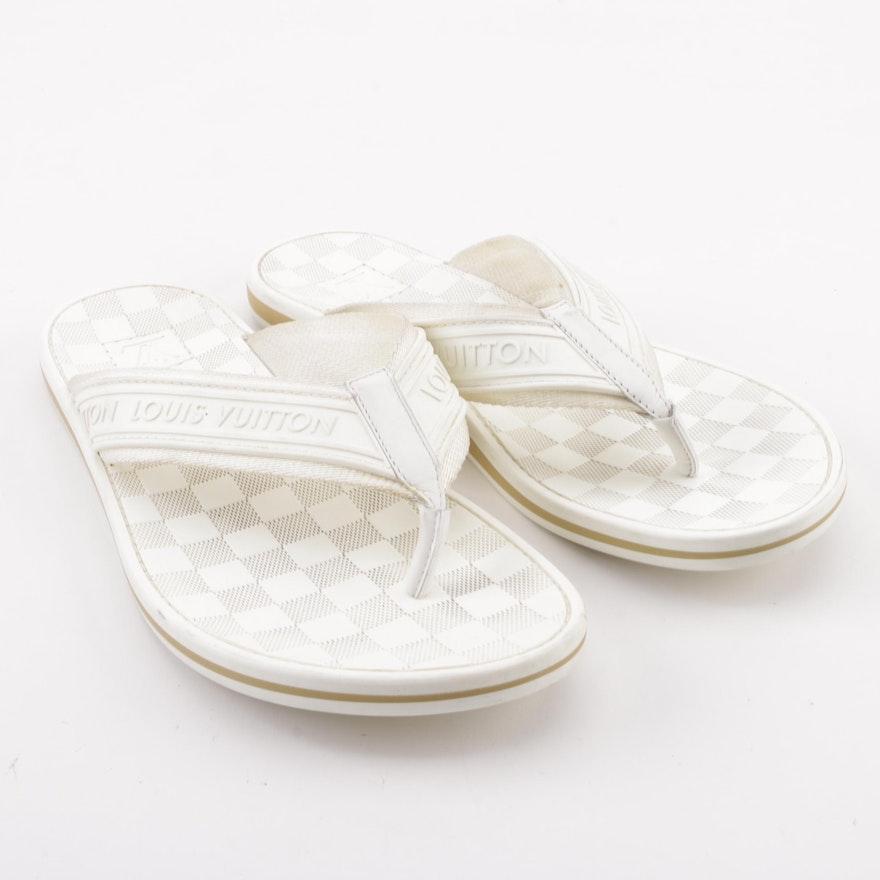 eeaa386fd7c6 Men s Louis Vuitton White Damier Canvas and Rubber Thong Sandals   EBTH