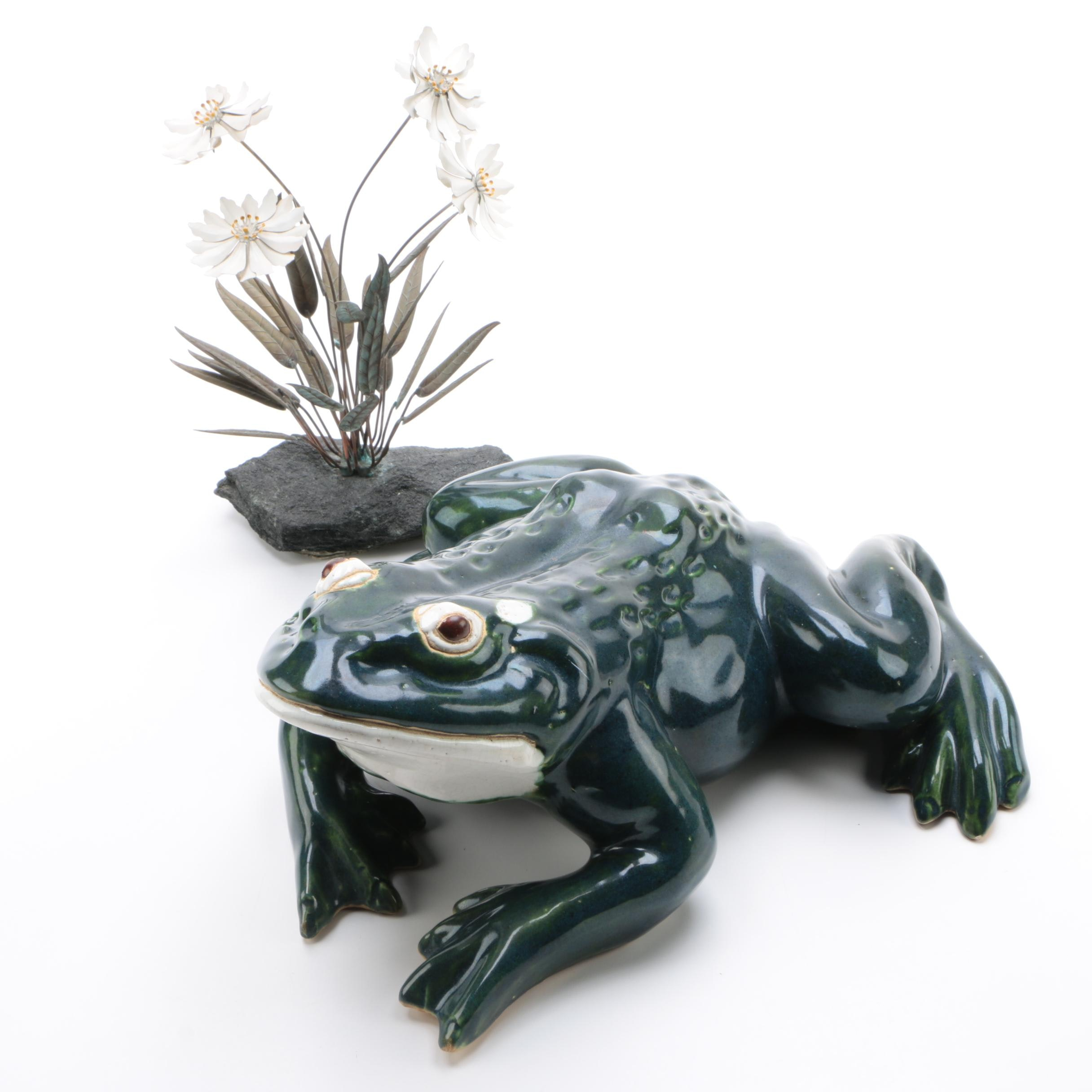 Metal and Stone Floral Centerpiece with  Mid Century Earthenware Frog