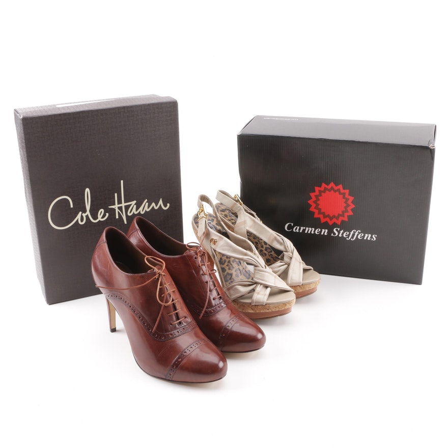 09a8051e9d1 Women s Cole Haan Violet Nike Air Oxford Pumps and Carmen Steffens Beige  Sandals ...