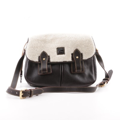 7d6fa2a160c8 Dooney   Bourke Dark Brown Leather and Faux Shearling Shoulder Bag