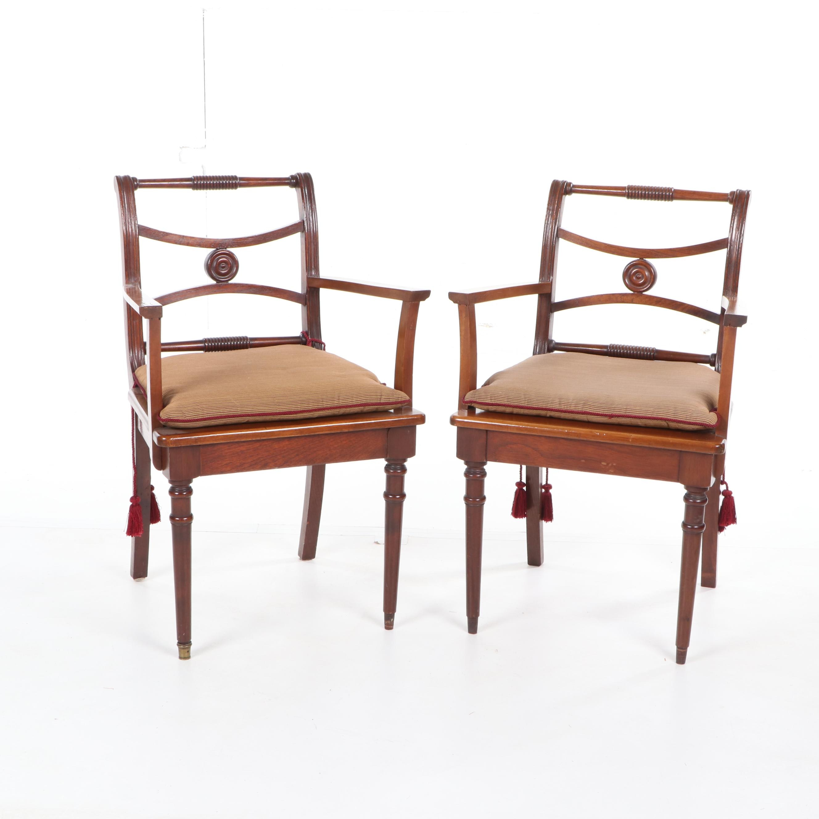 Regency Style Cherrywood Armchairs with Seat Cushions, Late 20th Century