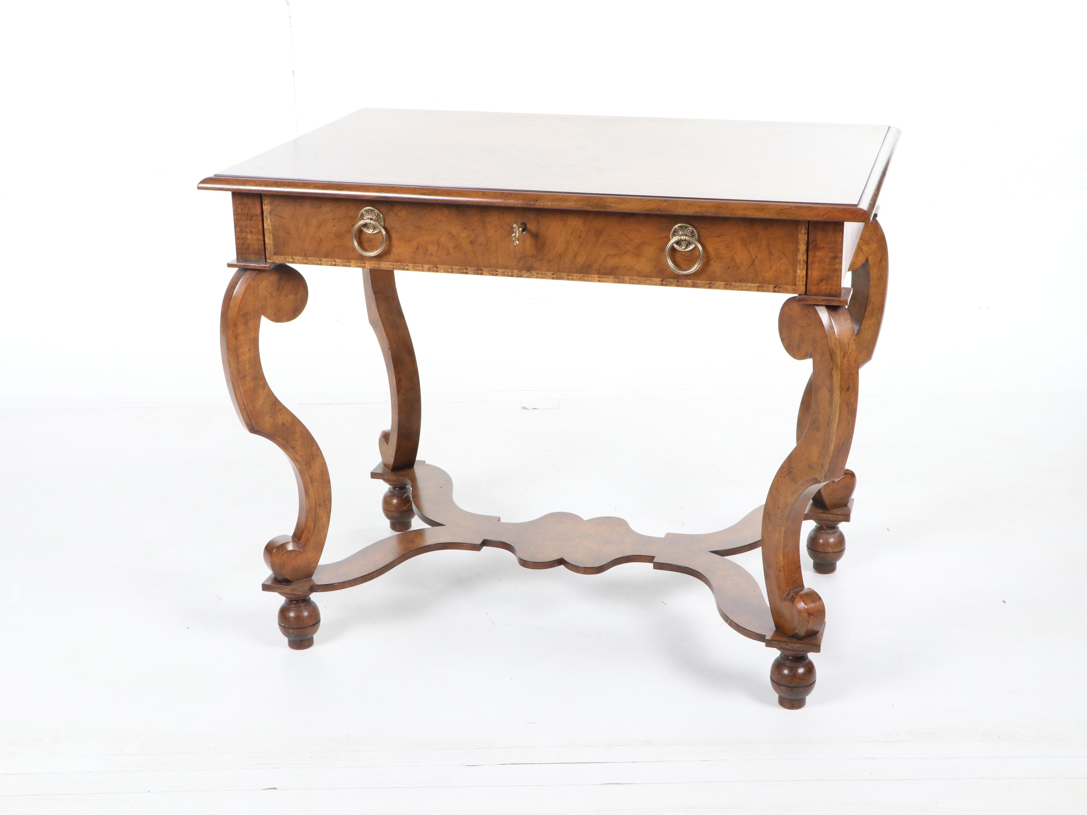 American Empire Style Walnut Entry Table by Baker Furniture, 21st Century