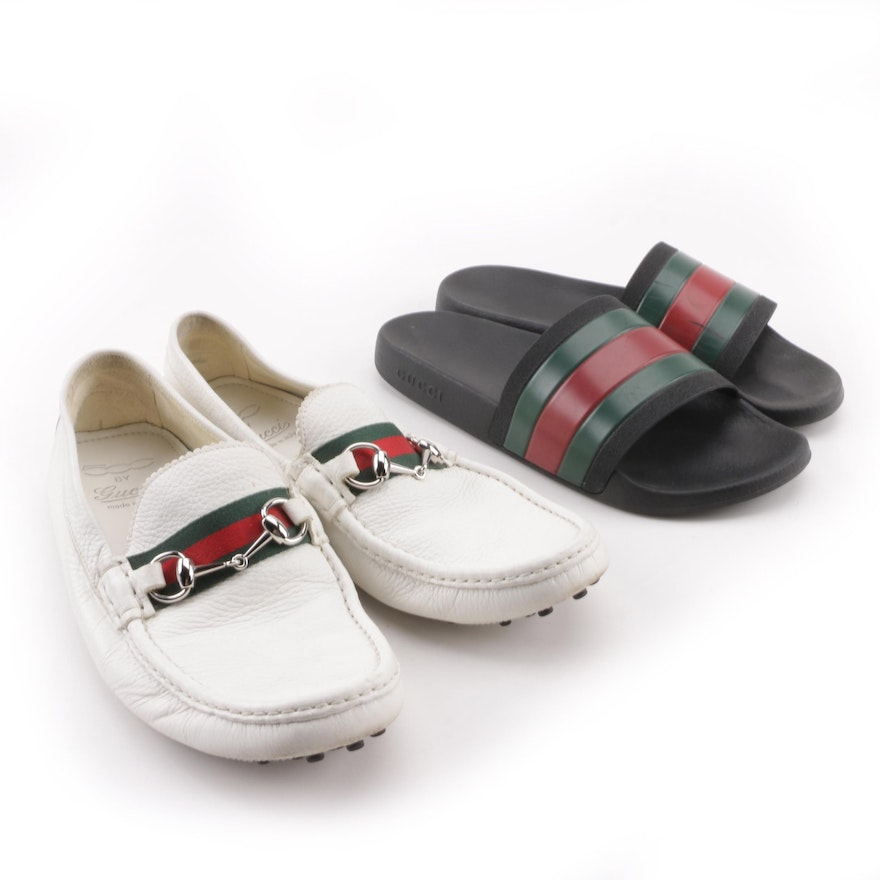 510f540c8b4ee Men s Gucci White Leather Driver with Web and Pursuit Rubber Slide Slides    EBTH
