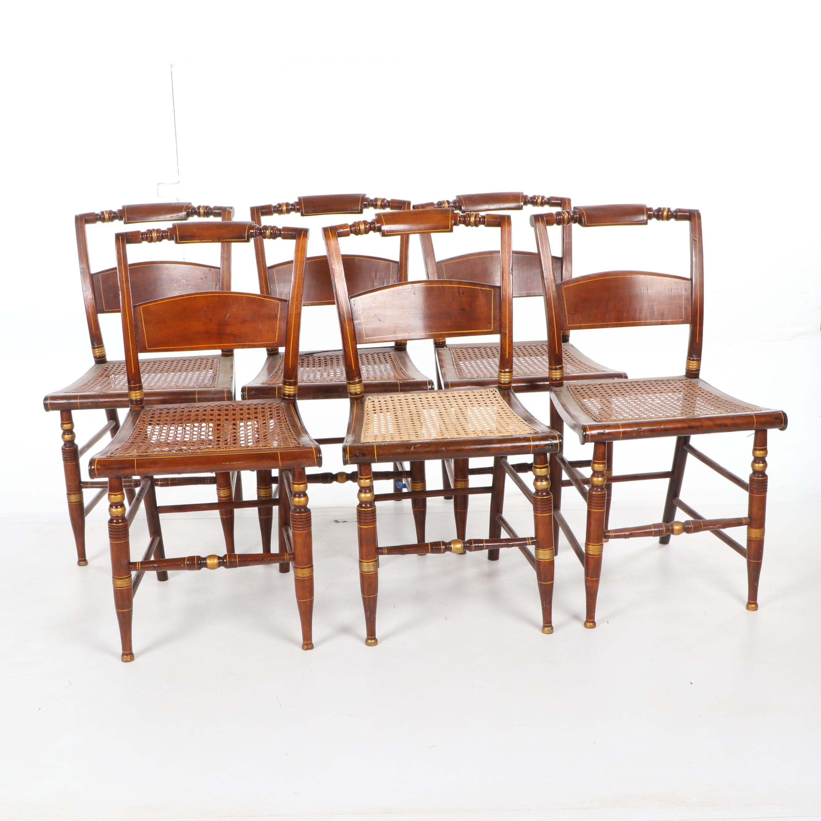 Hitchcock Style Inlaid Walnut Dining Chairs Set, 19th Century