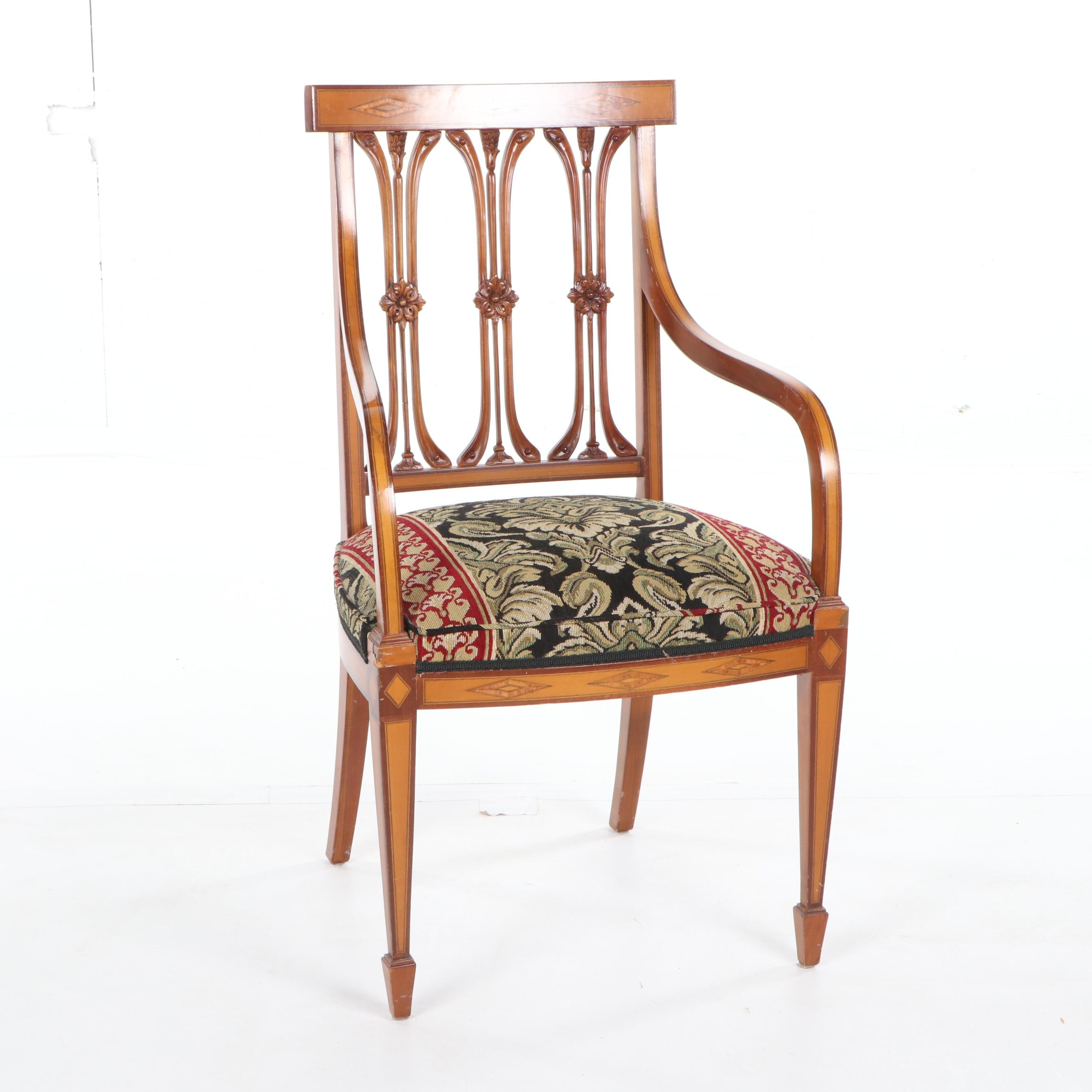 Federal Style Maple Frame Upholstered Armchair, Mid-20th Century