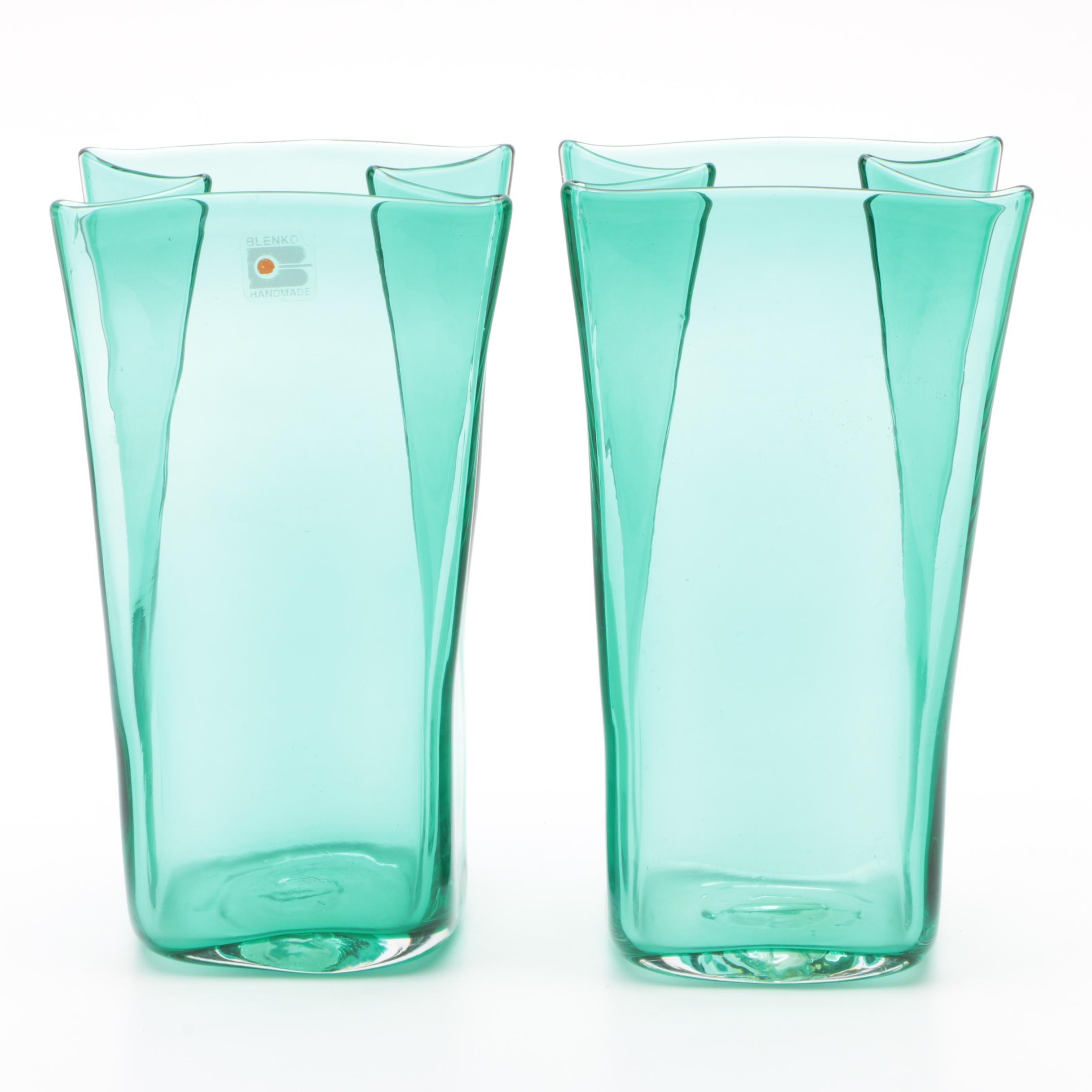 """Blenko Glass """"Paper Bag"""" Vases, Mid Century"""