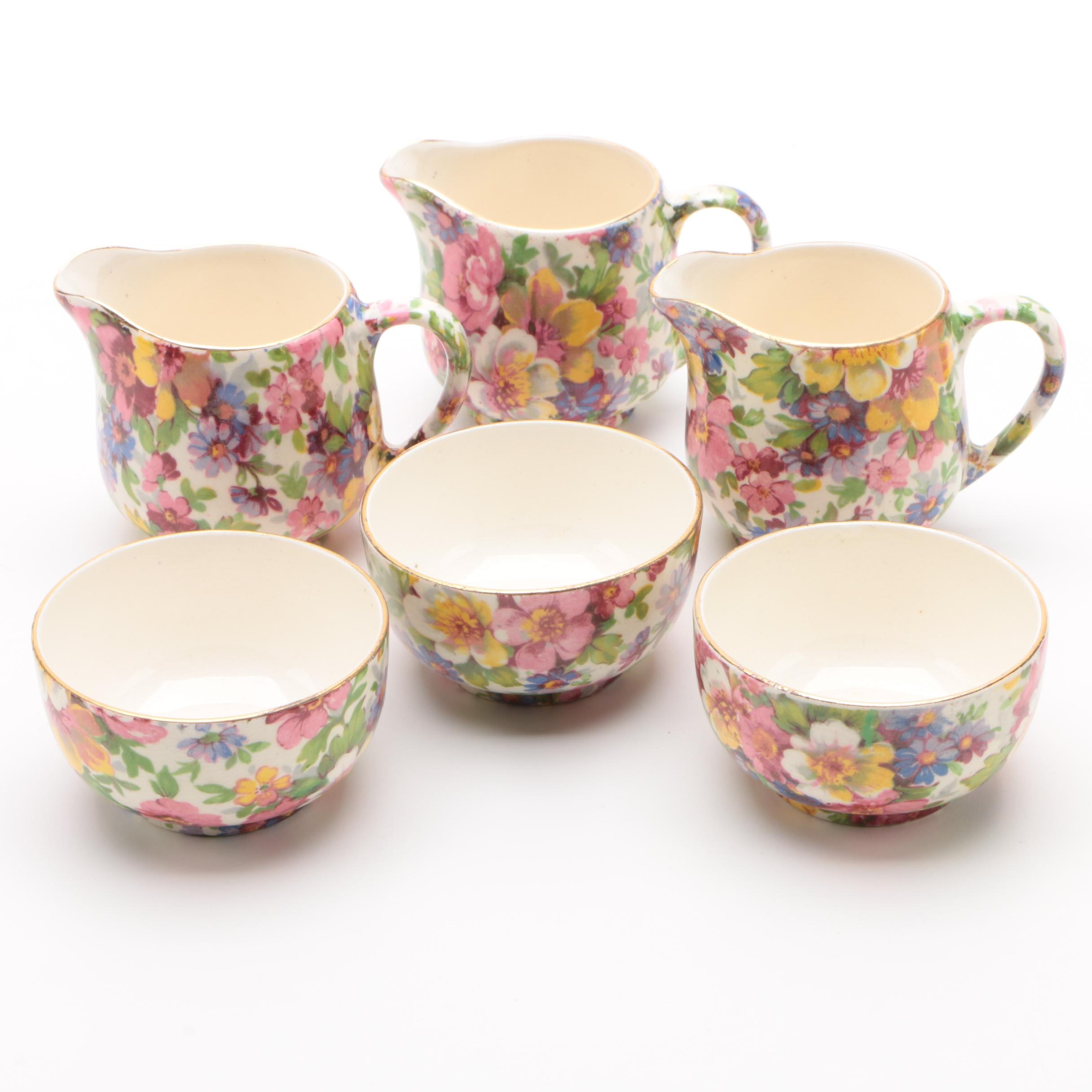 "James Kent ""Du Barry"" Individual Creamers and Open Sugar Bowls"