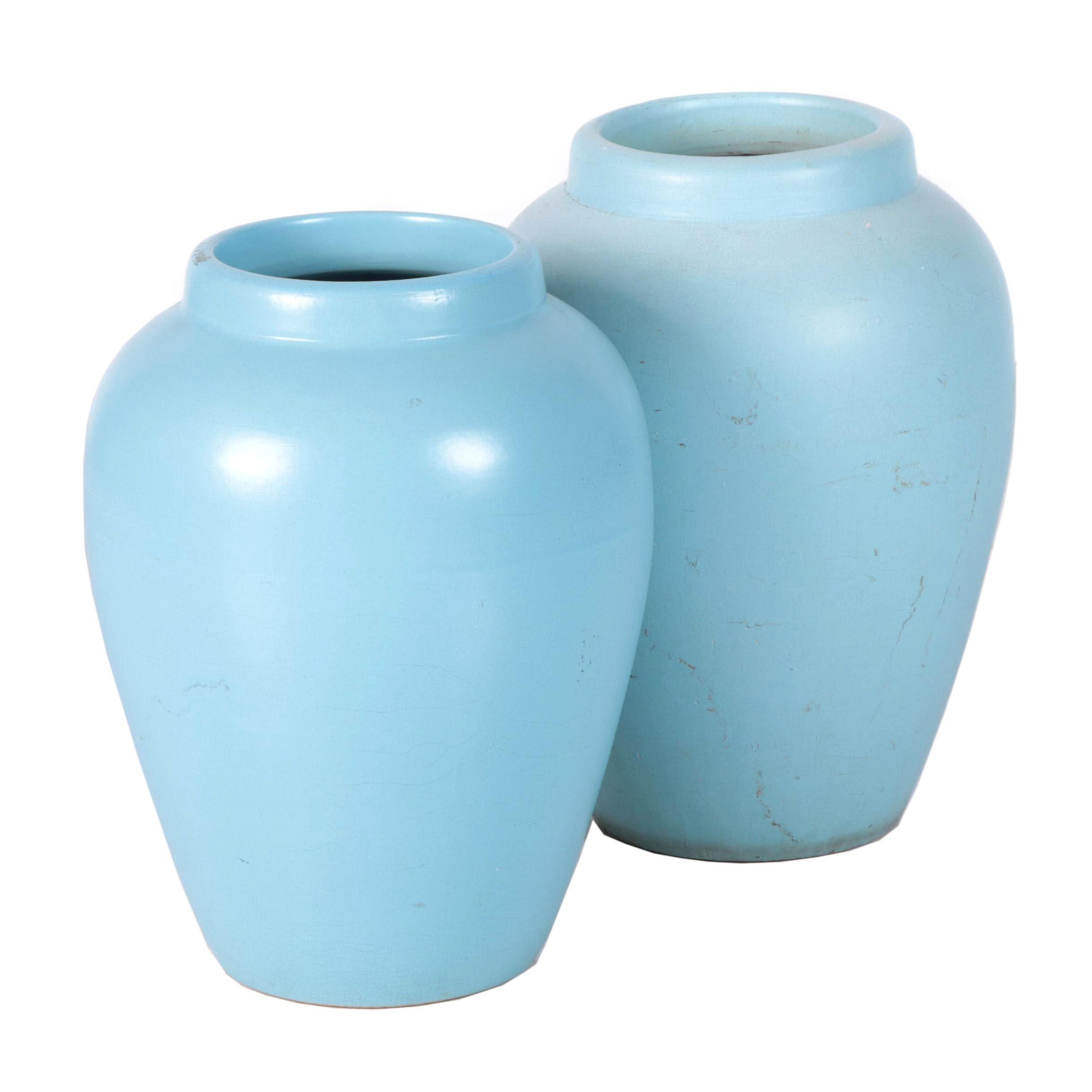 Mid-Century Urn Form Ceramic Floor Vases