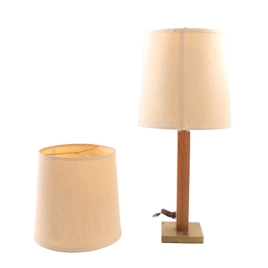 Danish Modern Br And Wood Table Lamp With Extra Shade