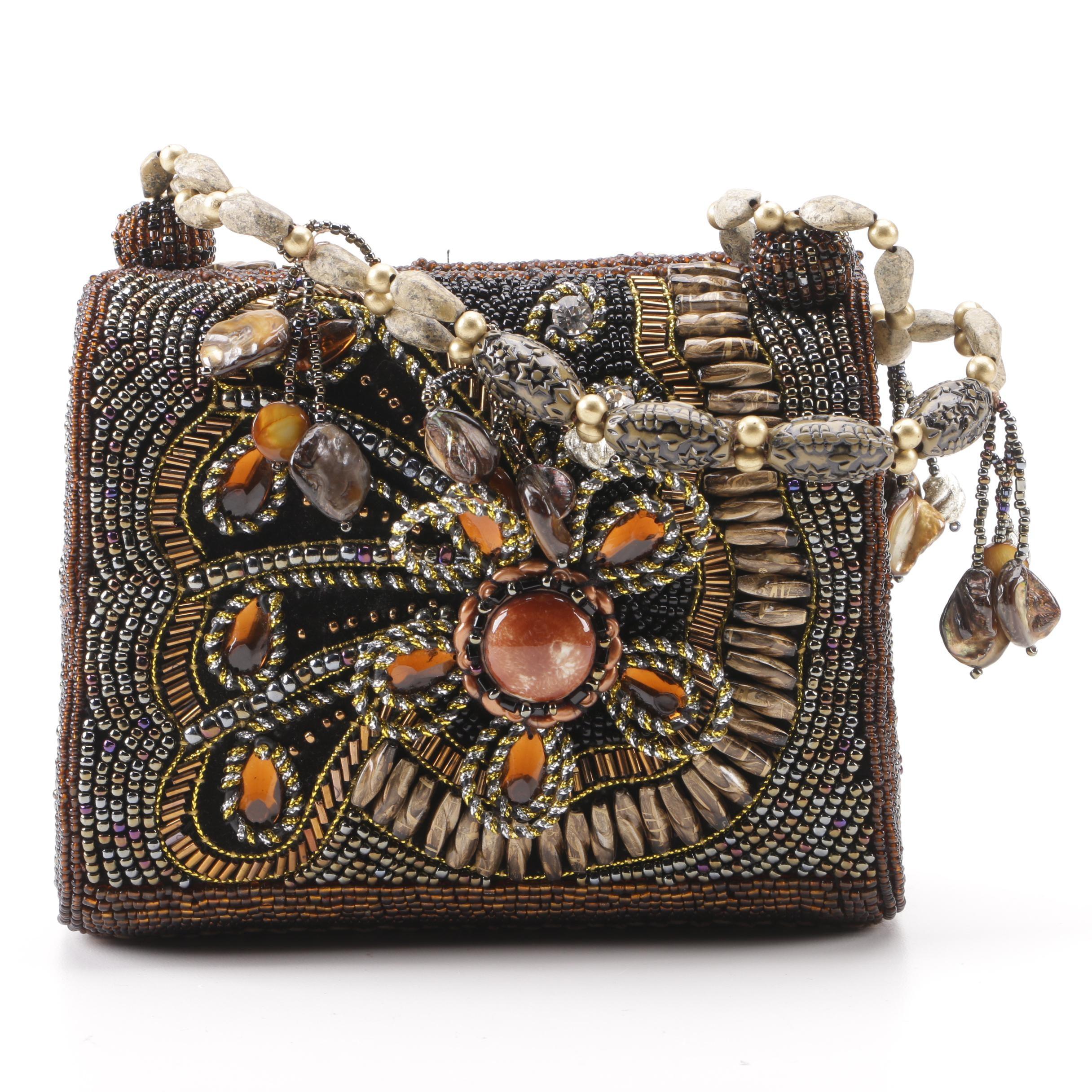 Contemporary Floral Motif Beaded Handbag