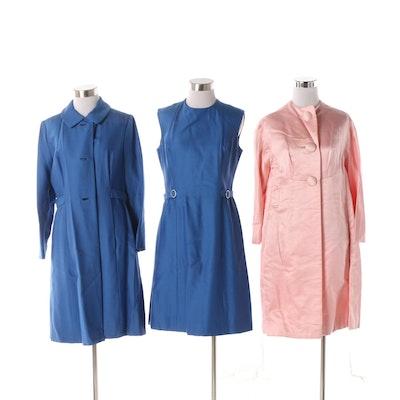 Circa 1960s Saks Fifth Avenue Pink Dress Coat and Blue Dress Set 2ccf2317f