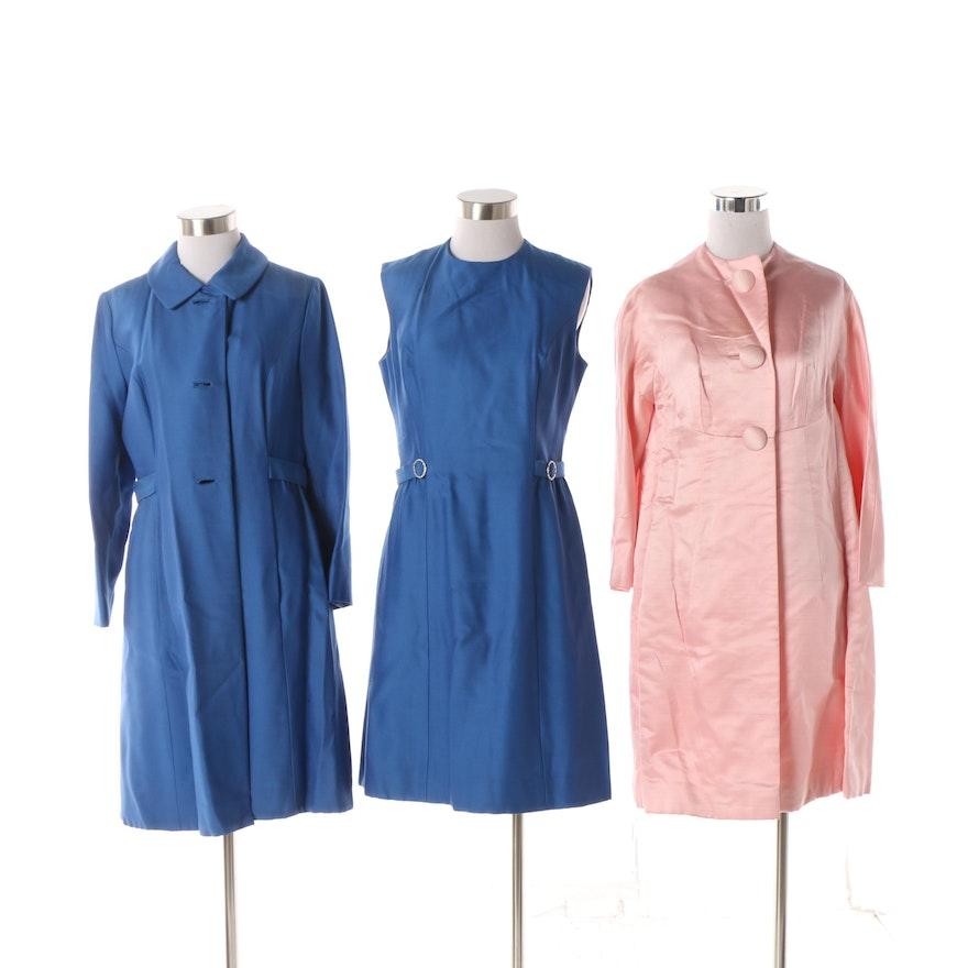 7d09d7103e Circa 1960s Saks Fifth Avenue Pink Dress Coat and Blue Dress Set