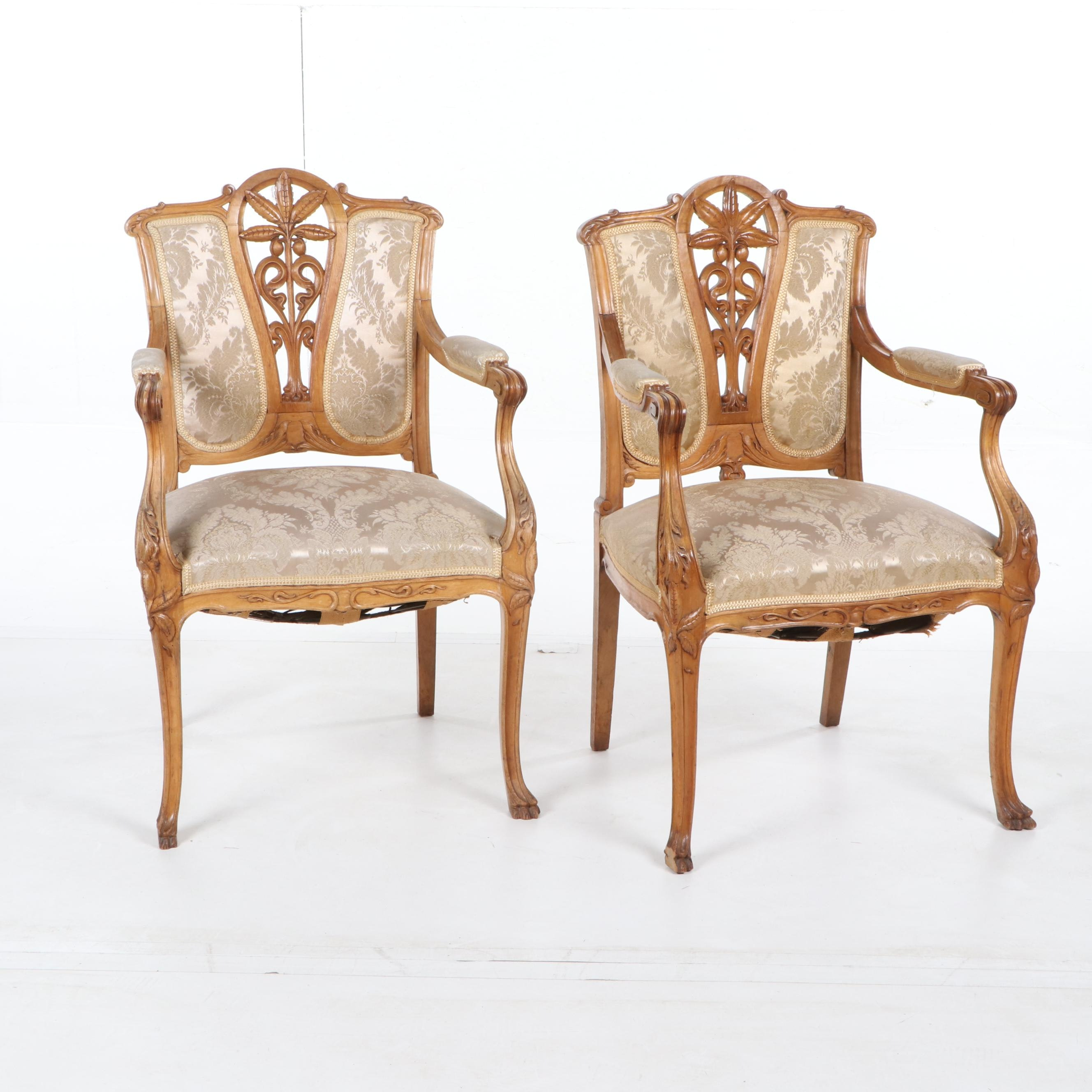 Louis XV Style Birch Frame Upholstered Armchairs, Early 20th Century