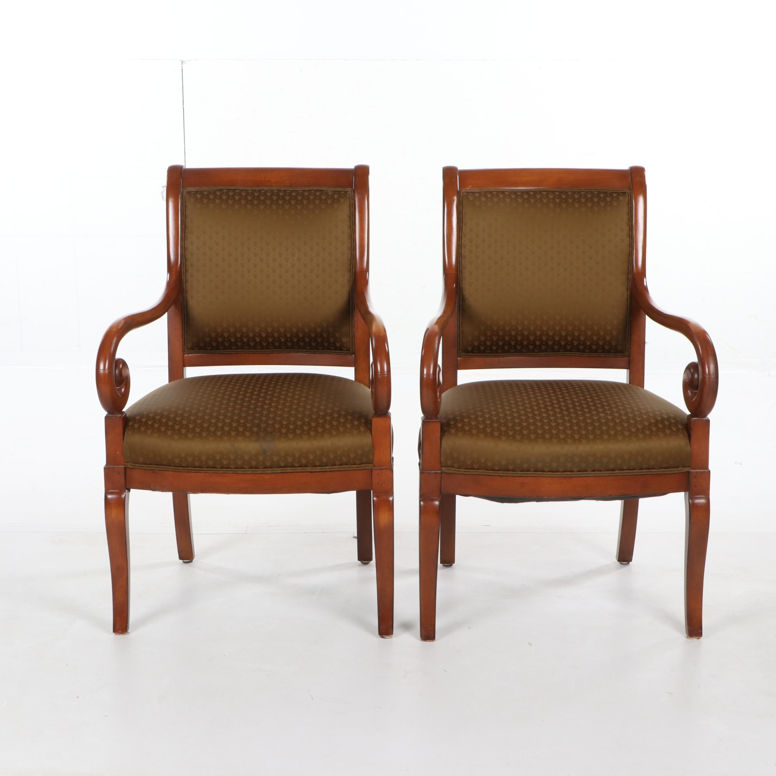 Regency Style Birch Frame Upholstered Armchairs by Trouvailles, 21st Century