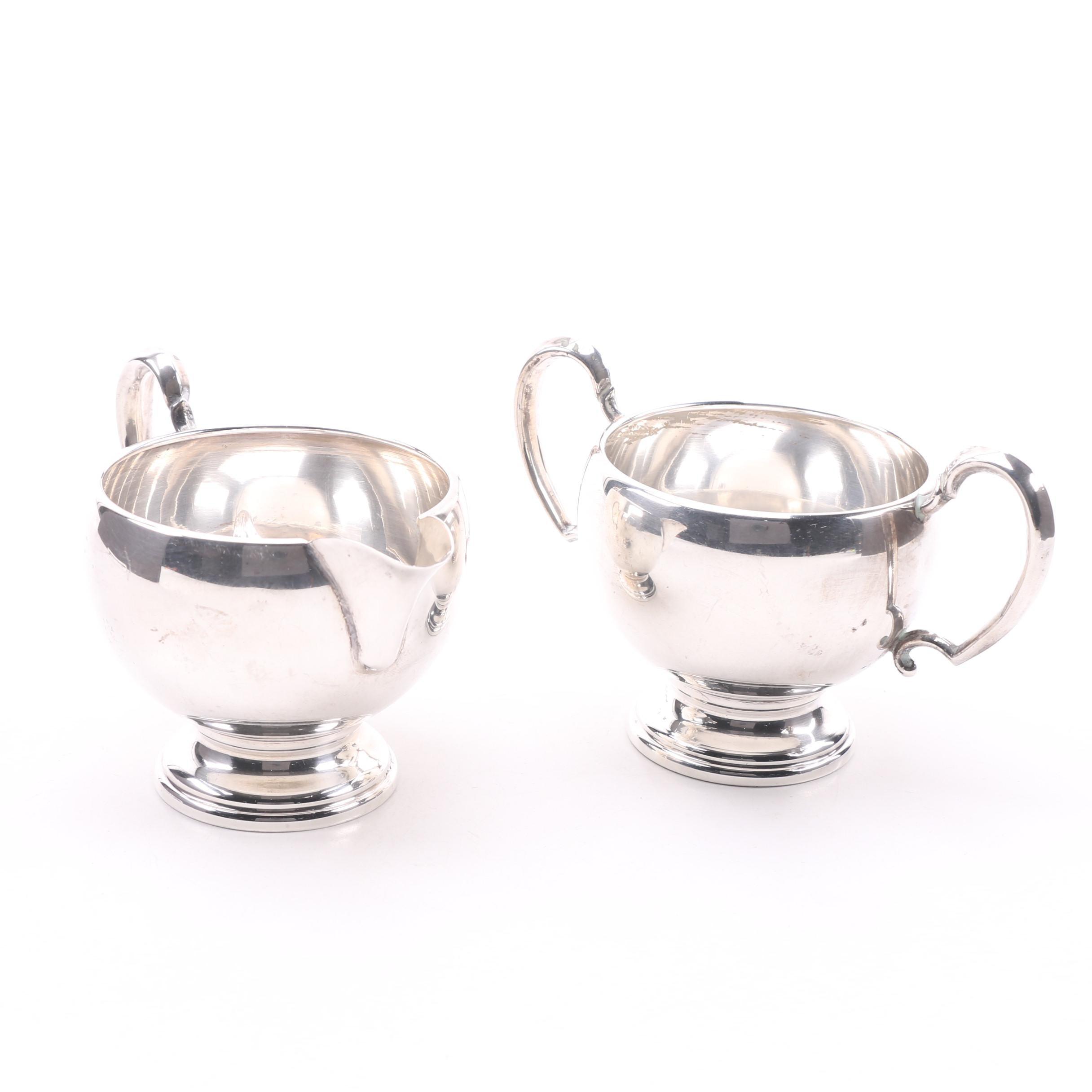 Hunt Silver Co. Sterling Silver Sugar Bowl and Creamer Set, Circa 1930s-1940s