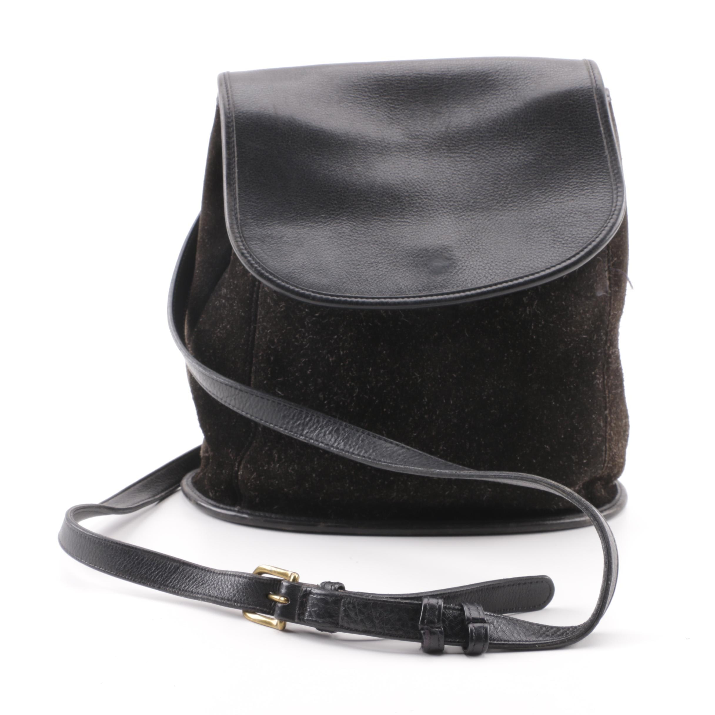 Coach Black Suede and Leather Backpack Bucket Purse