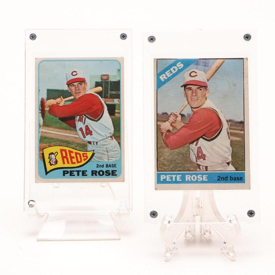 1965 And 1966 Pete Rose Cincinnati Reds Topps Baseball Cards