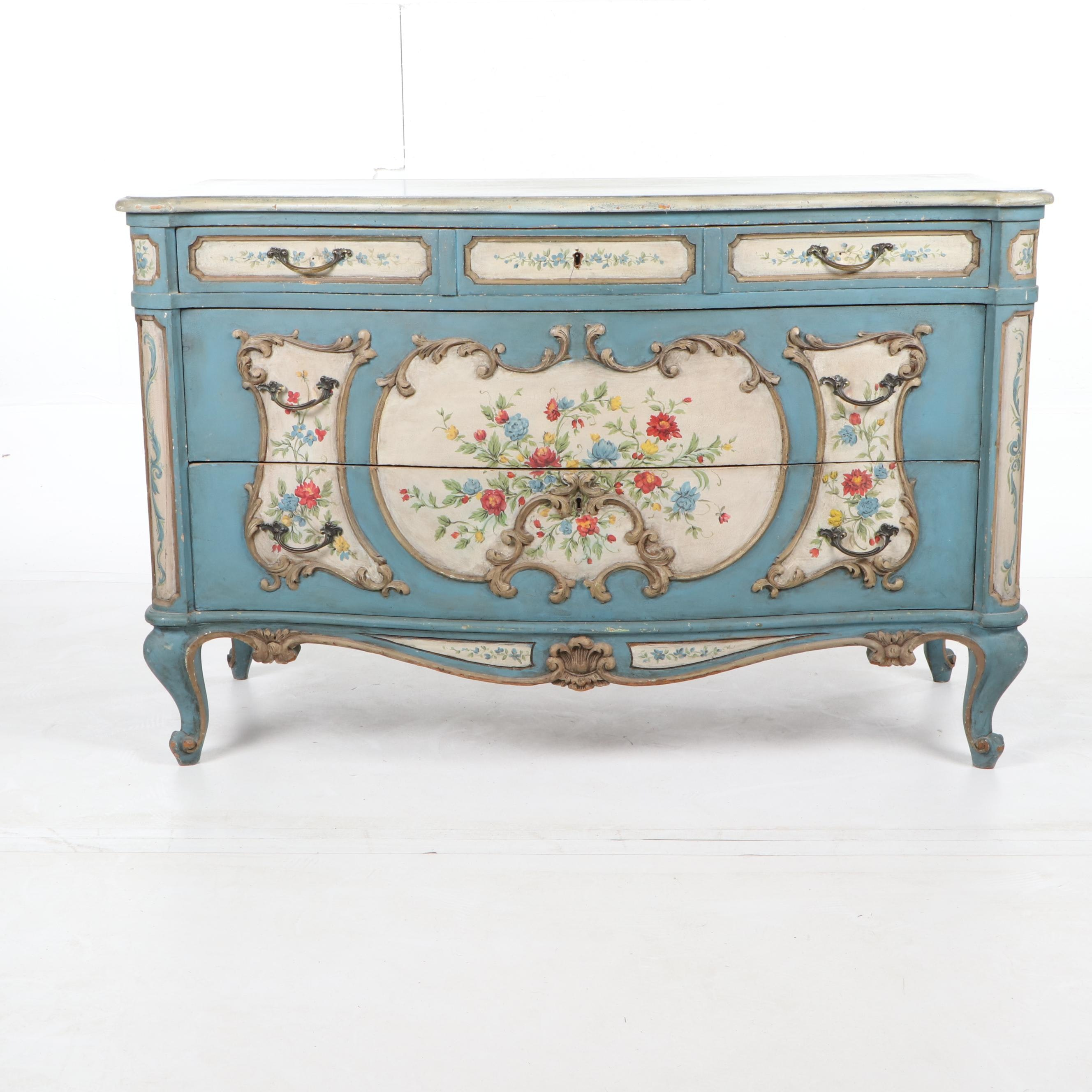 French Provincial Style Painted Wood Three-Drawer Chest, Early 20th Century