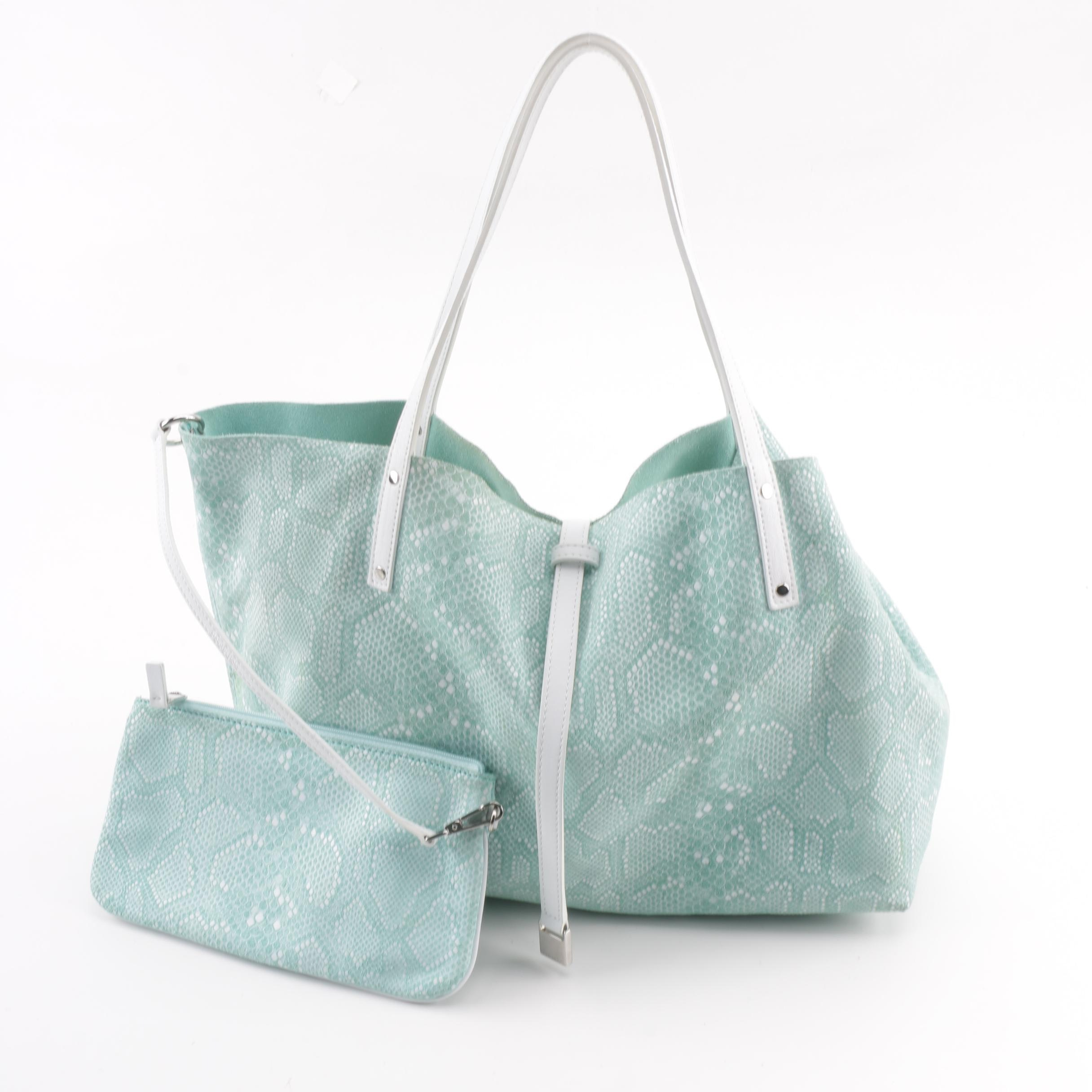 Tiffany & Co. Python Print Suede and Leather Reversible Tote Bag with Pochette