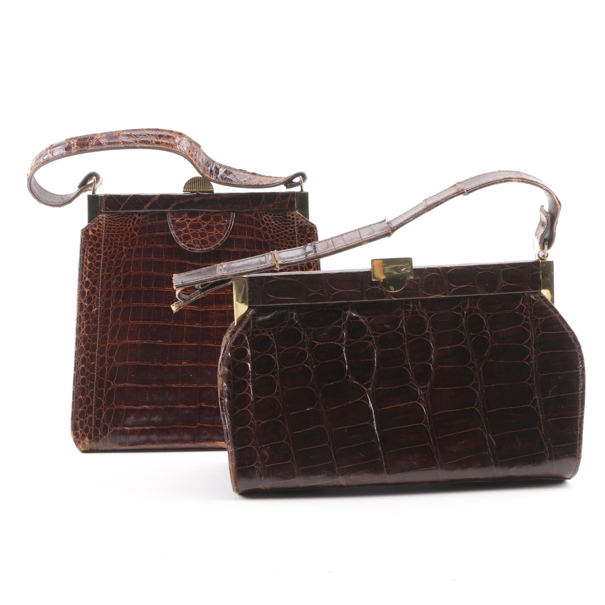 Vintage Brown Crocodile and Alligator Handbags