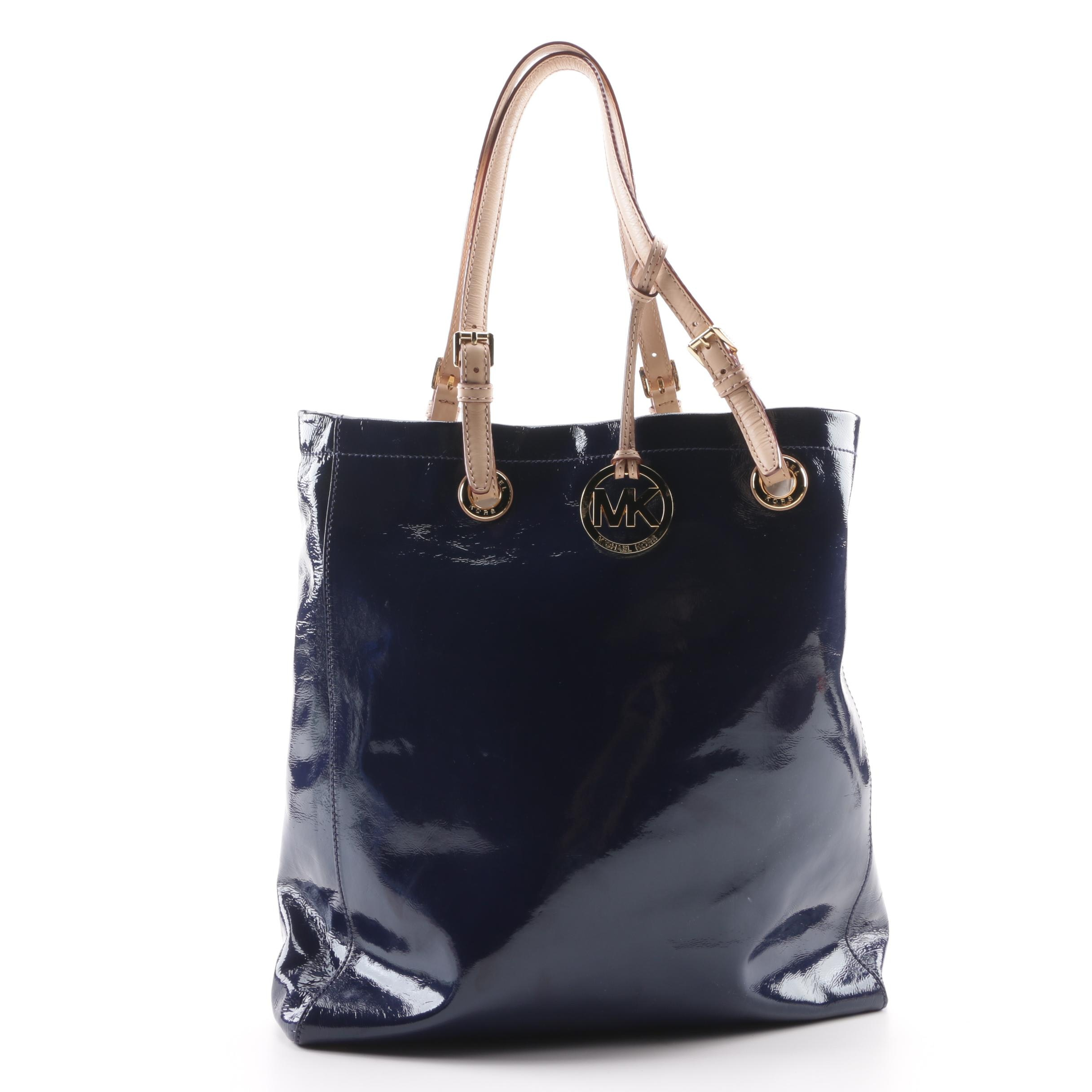 MICHAEL Michael Kors Navy Blue Patent Leather Tote