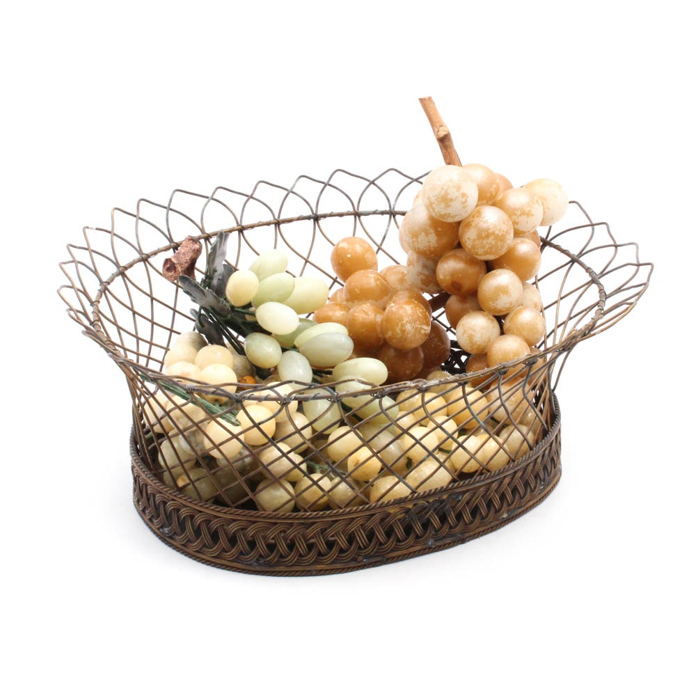 Wire Basket with Stone and Glass Grape Clusters