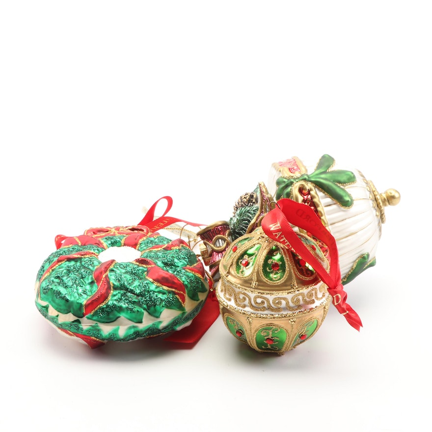 Waterford Christmas Ornaments.Waterford Holiday Heirlooms Glass Ornaments Ebth