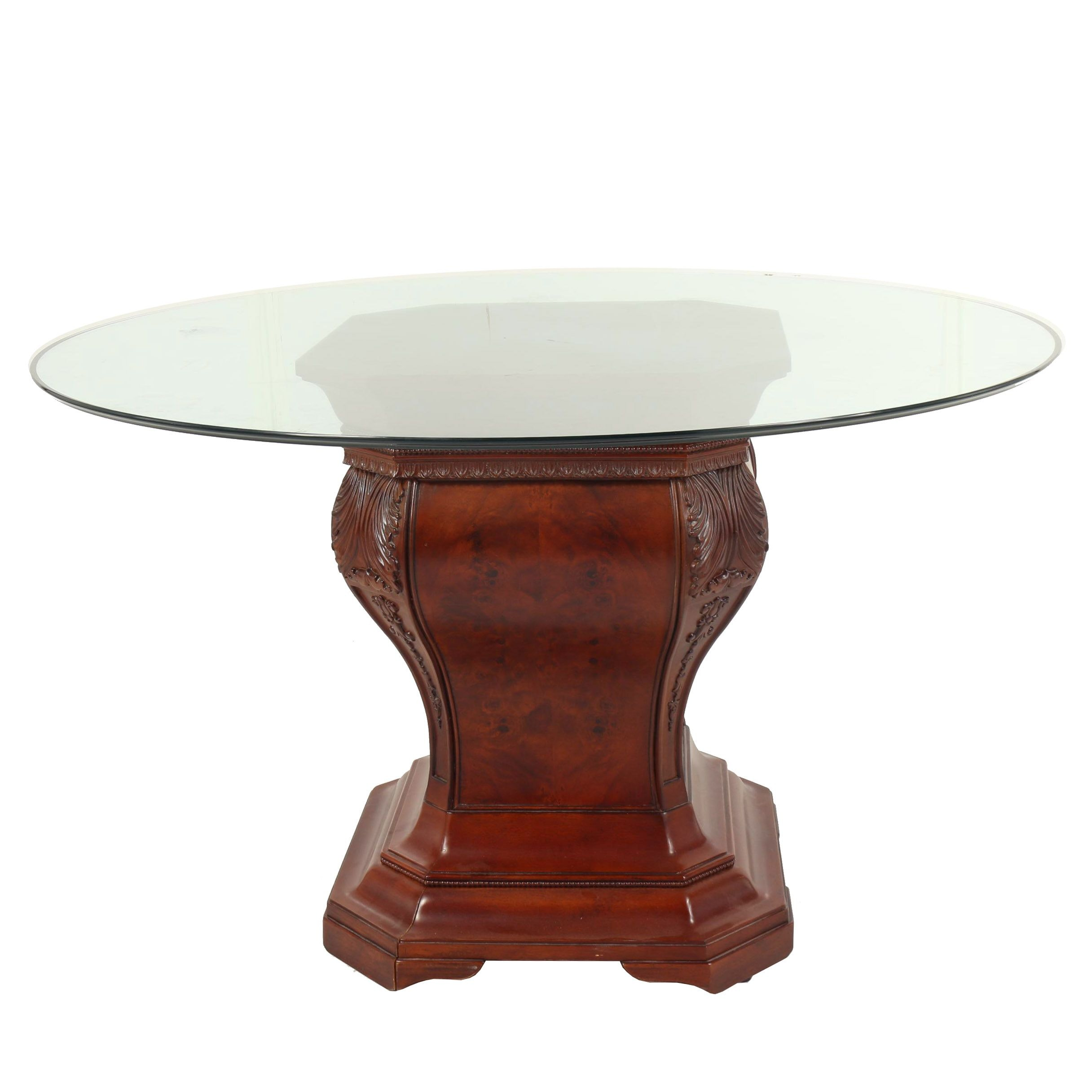 Regency Style Burl Wood Pedestal Table With Glass Top 21st Century