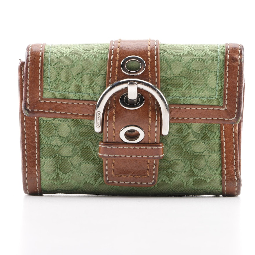 bcd53470e674da Coach Soho Green Signature Canvas Wallet with Brown Leather Trim : EBTH
