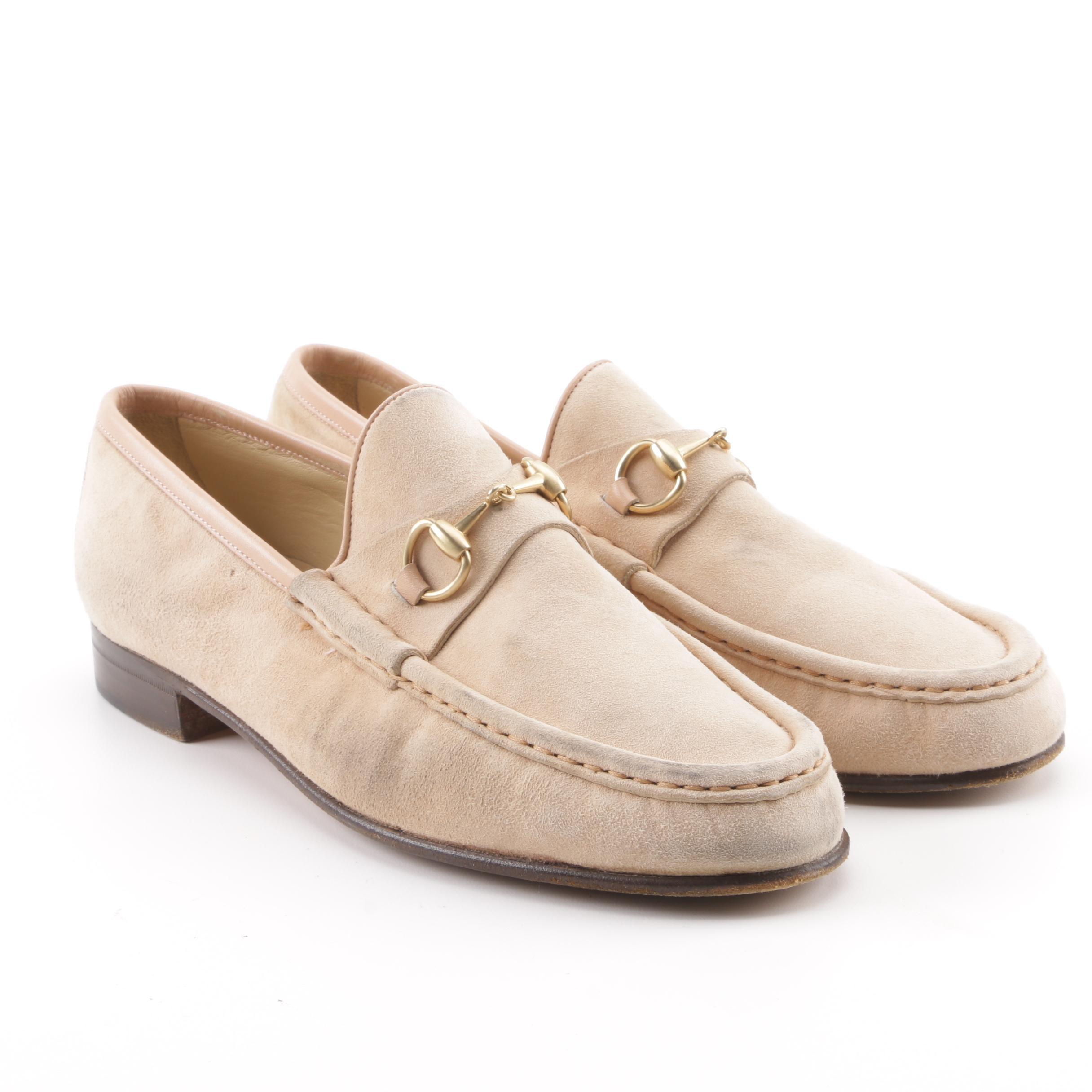 Gucci Horsebit Beige Suede Loafers
