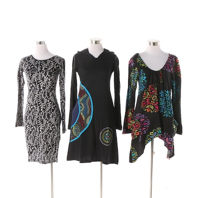 13785653d7 Aller Simplement Printed Cotton Casual Dresses and Tunic Style Top
