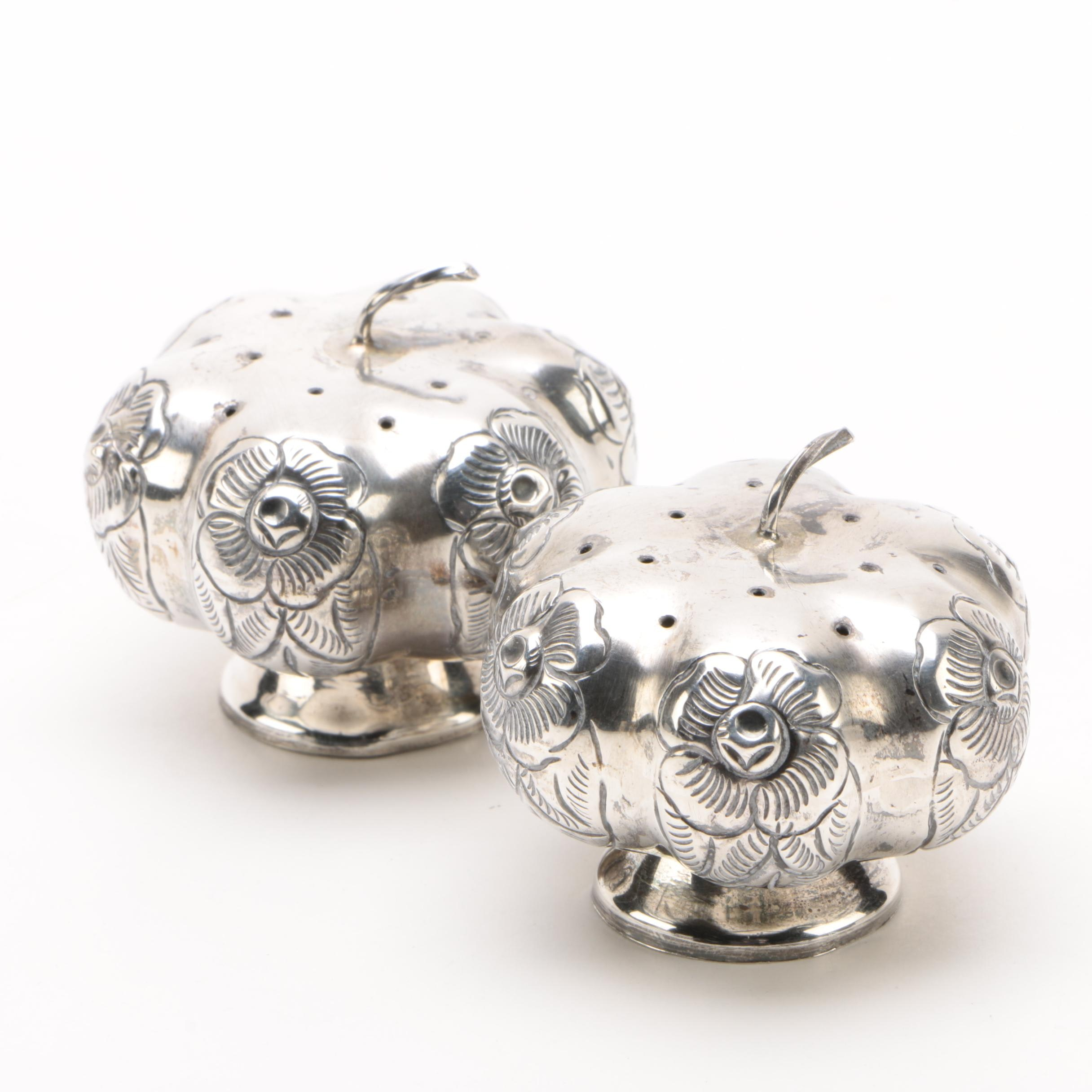 Mexican Sterling Silver Floral Motif Pumpkin Salt and Pepper Shaker Set