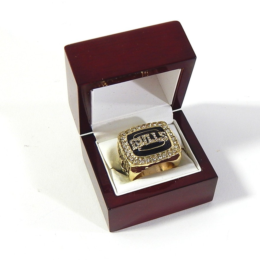 e568be34ca6844 Gold-Tone Replica Chicago Bulls Michael Jordan 1991 92 World Championship  Ring   EBTH