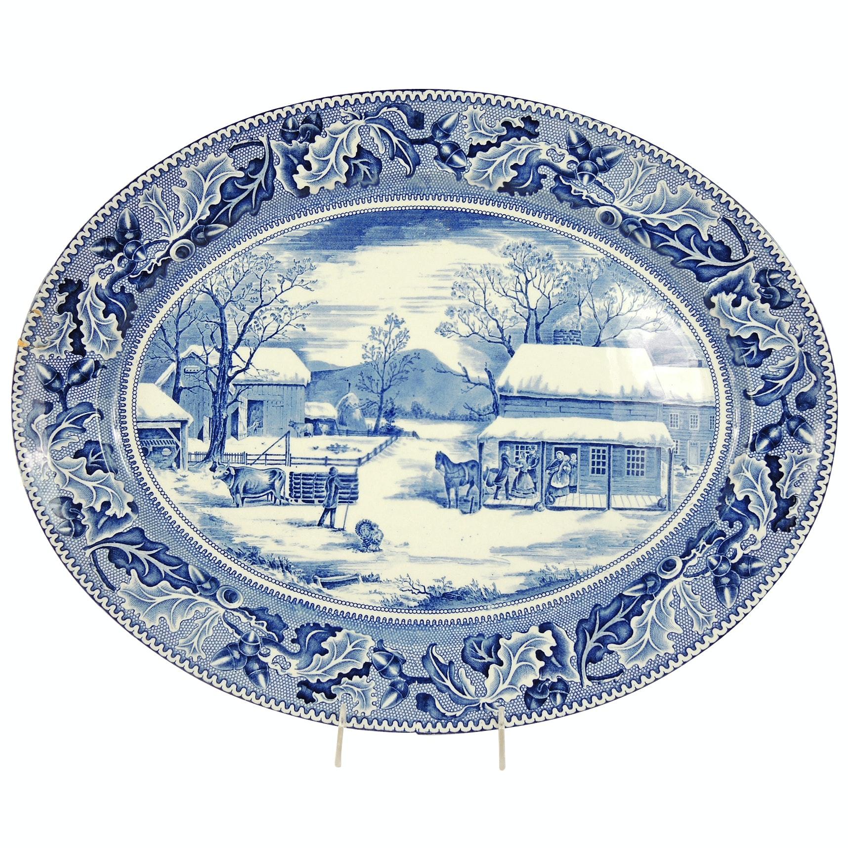 "Johnson Bros. ""Historic America"" Ceramic Serving Platter"