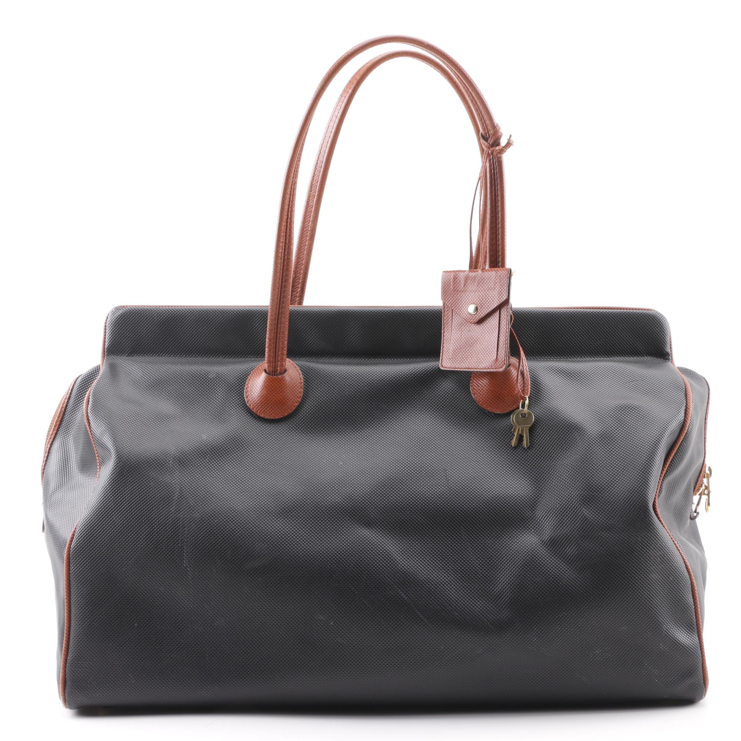 Bottega Veneta Black Rubberized Canvas Marco Polo Bag