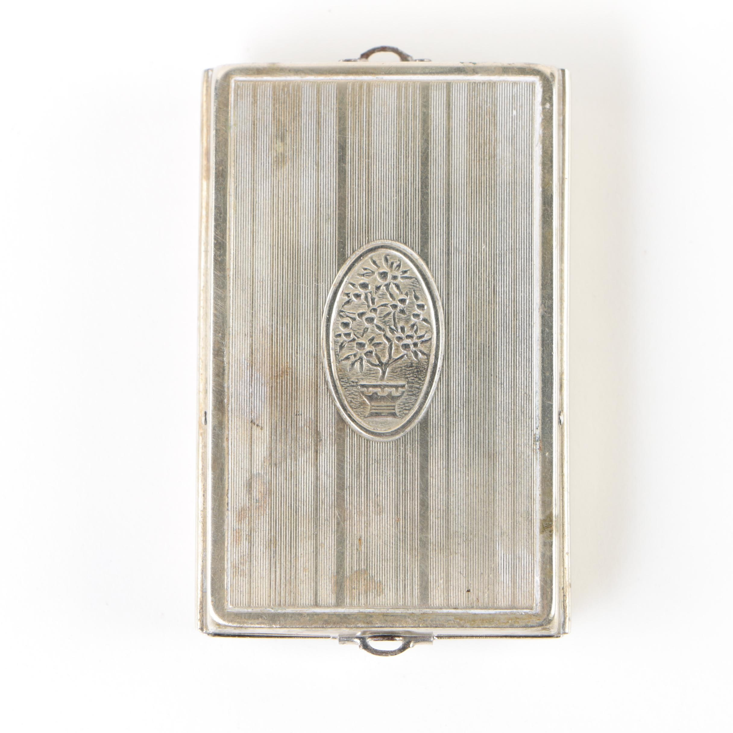 Vintage Silver-Plated Sliding Mirror Compact