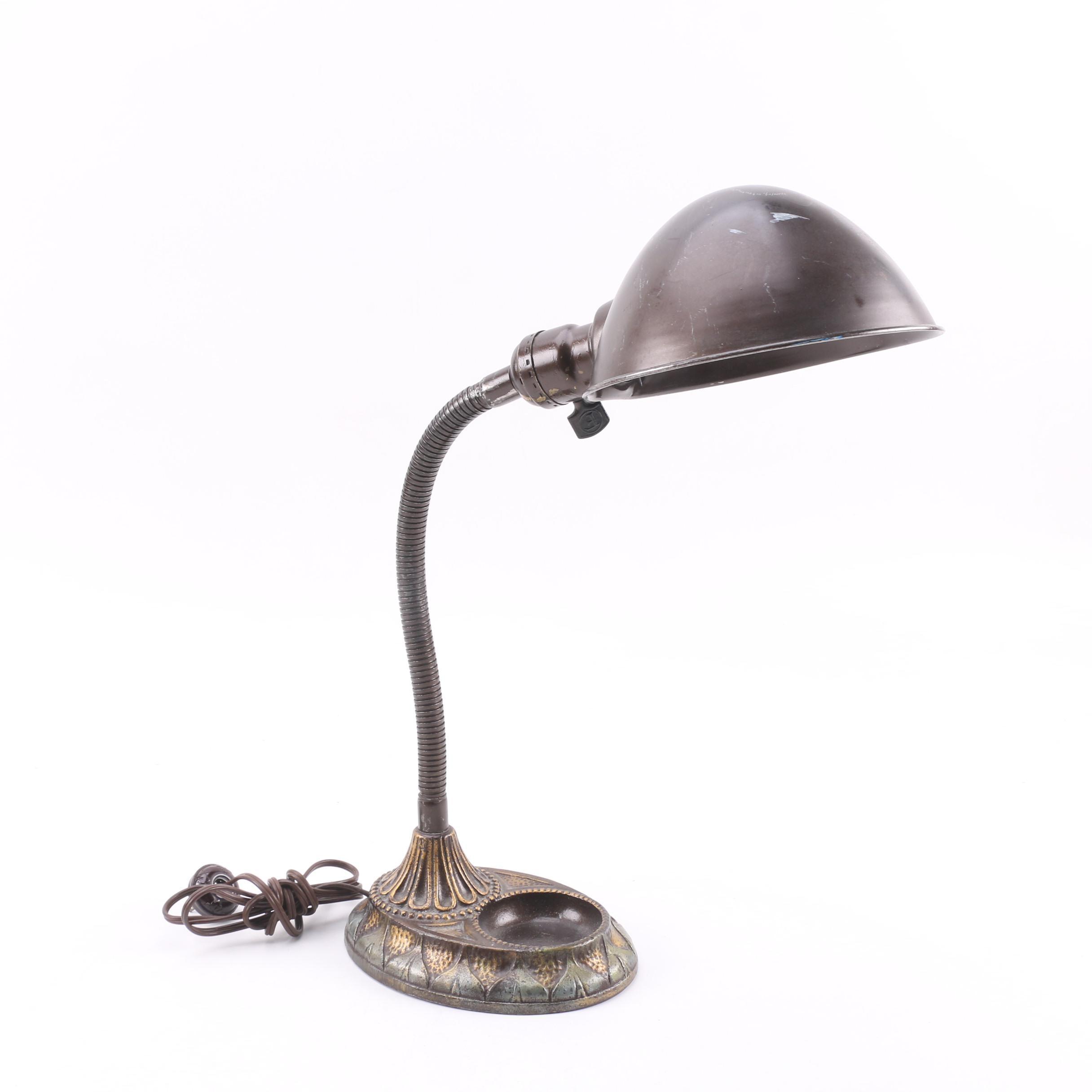 1930s Melaun Mfg. Co. Cast Iron Gooseneck Desk Lamp