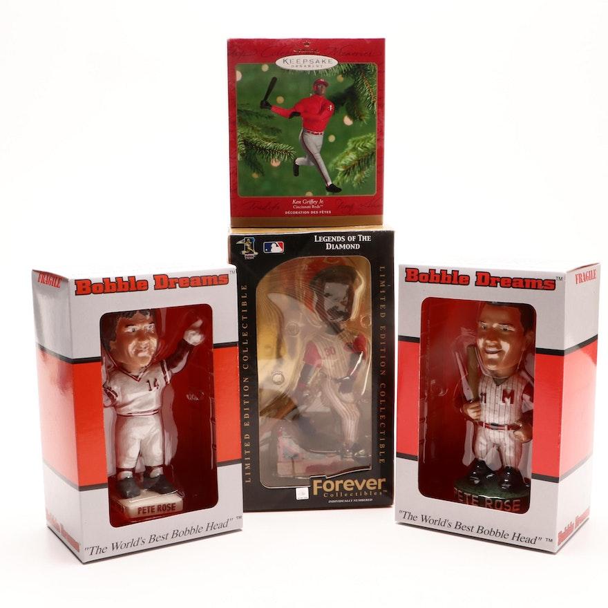 a3bdd8b458 Pete Rose and Ken Griffey Jr. Bobble Head Dolls and Hallmark Ornament : EBTH