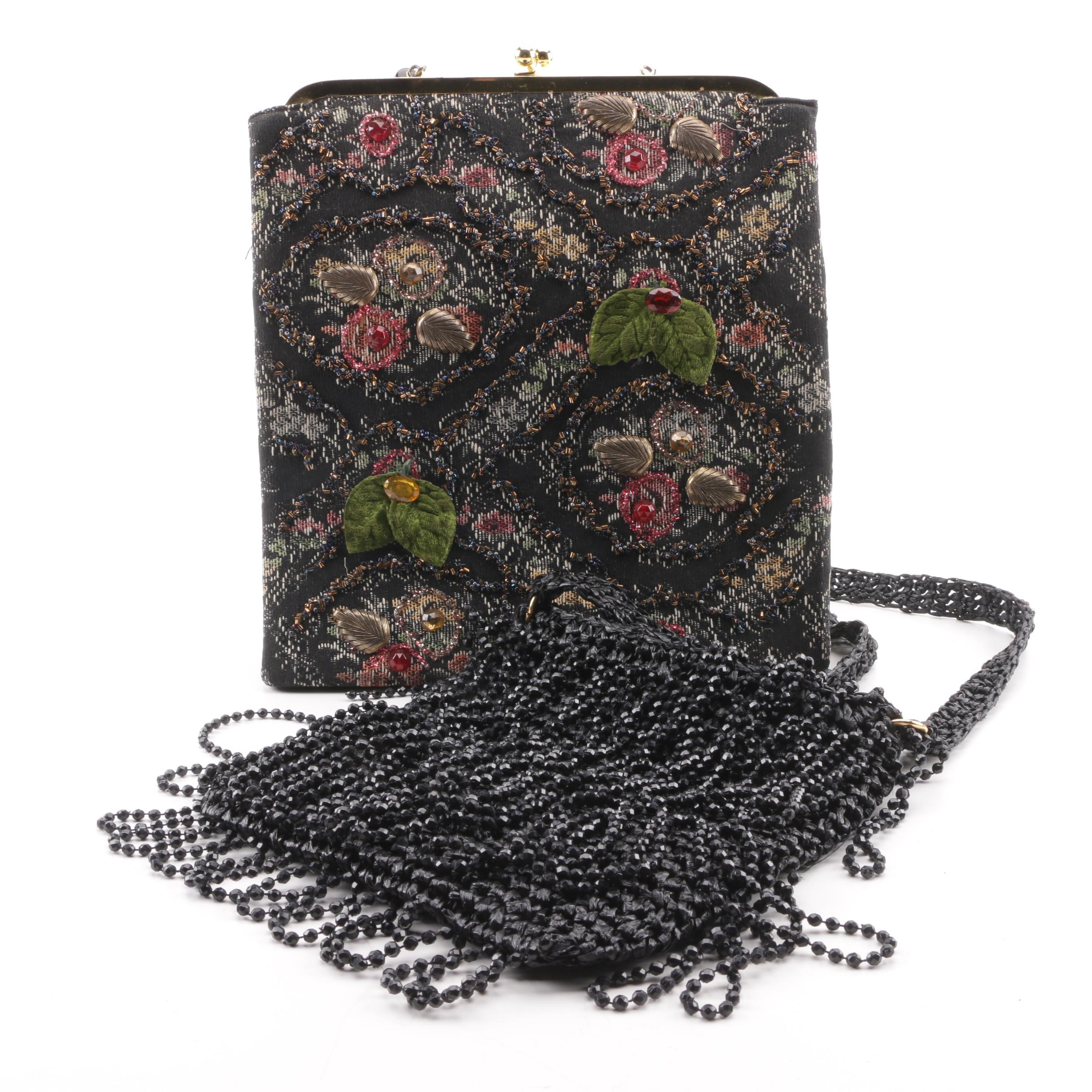 Vintage Embellished Floral Carpet Bag and Woven Shoulder Bag with Beaded Fringe
