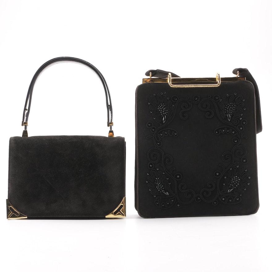 68ee1ffc796b Vintage Koret Suede Handbag and Jerry Moss Original Embellished Frame Bag  ...