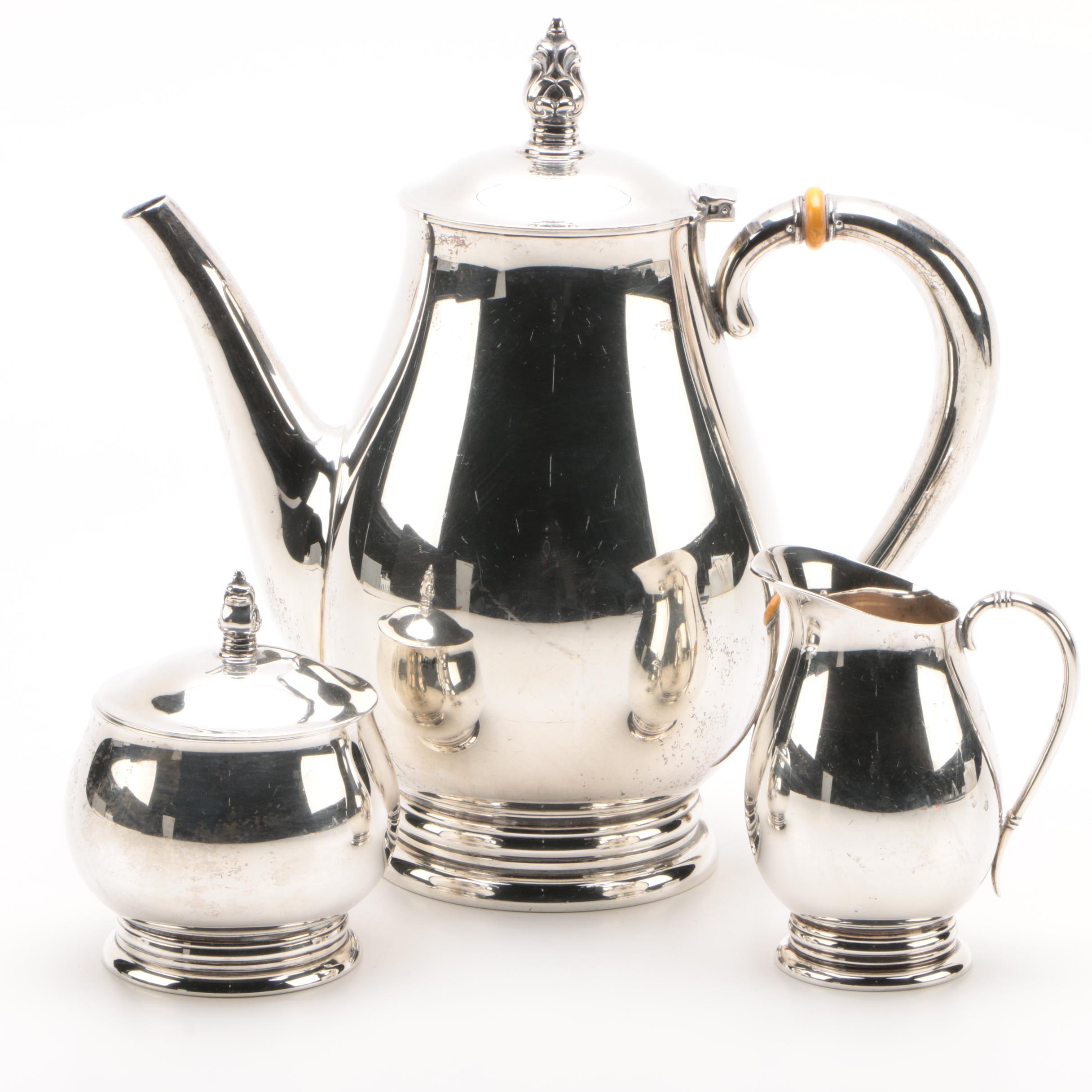 "International Silver Co. ""Royal Danish"" Sterling Teapot, Creamer, and Sugar Bowl"