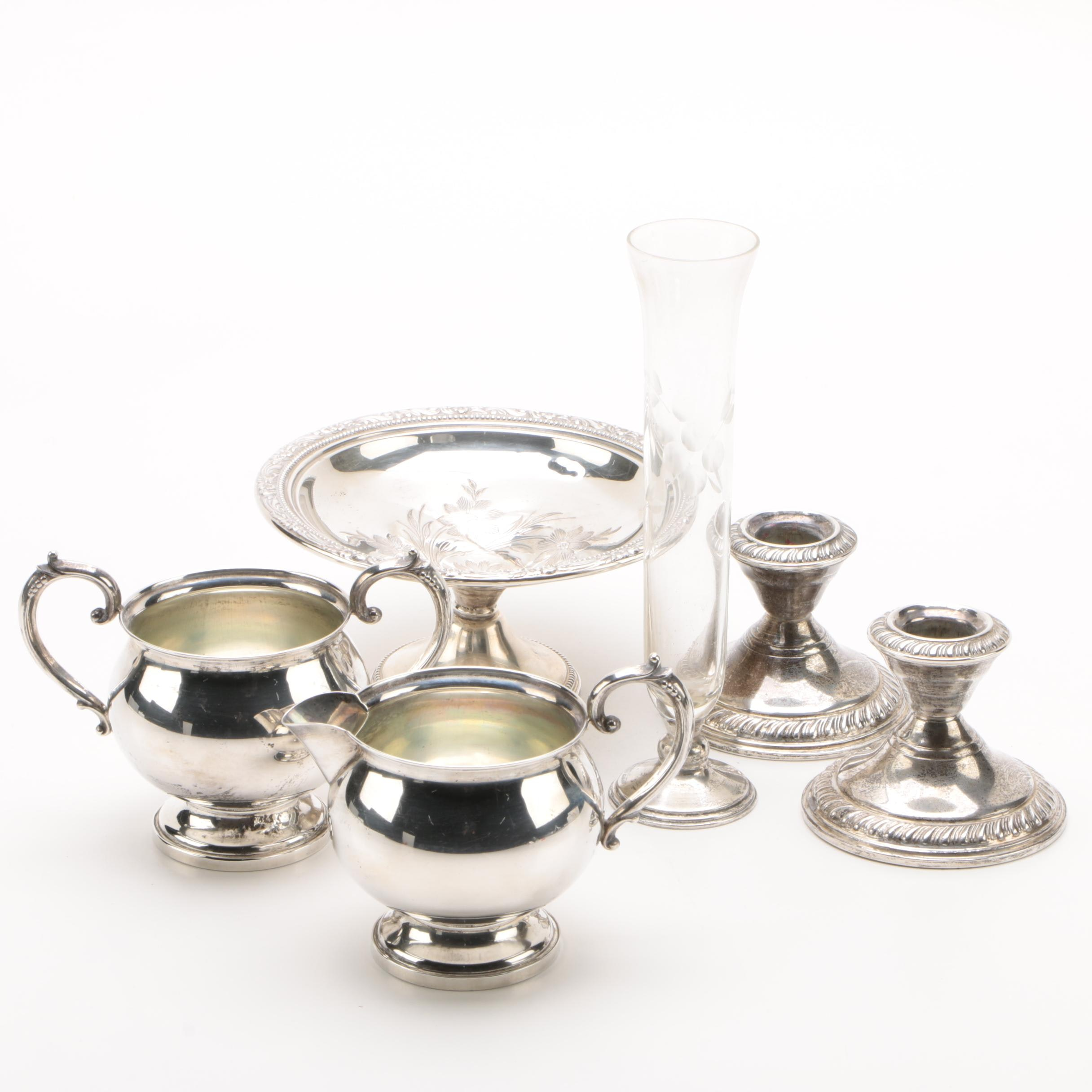 Fisher Silversmiths Creamer and Sugar Set with Other Weighted Sterling Tableware