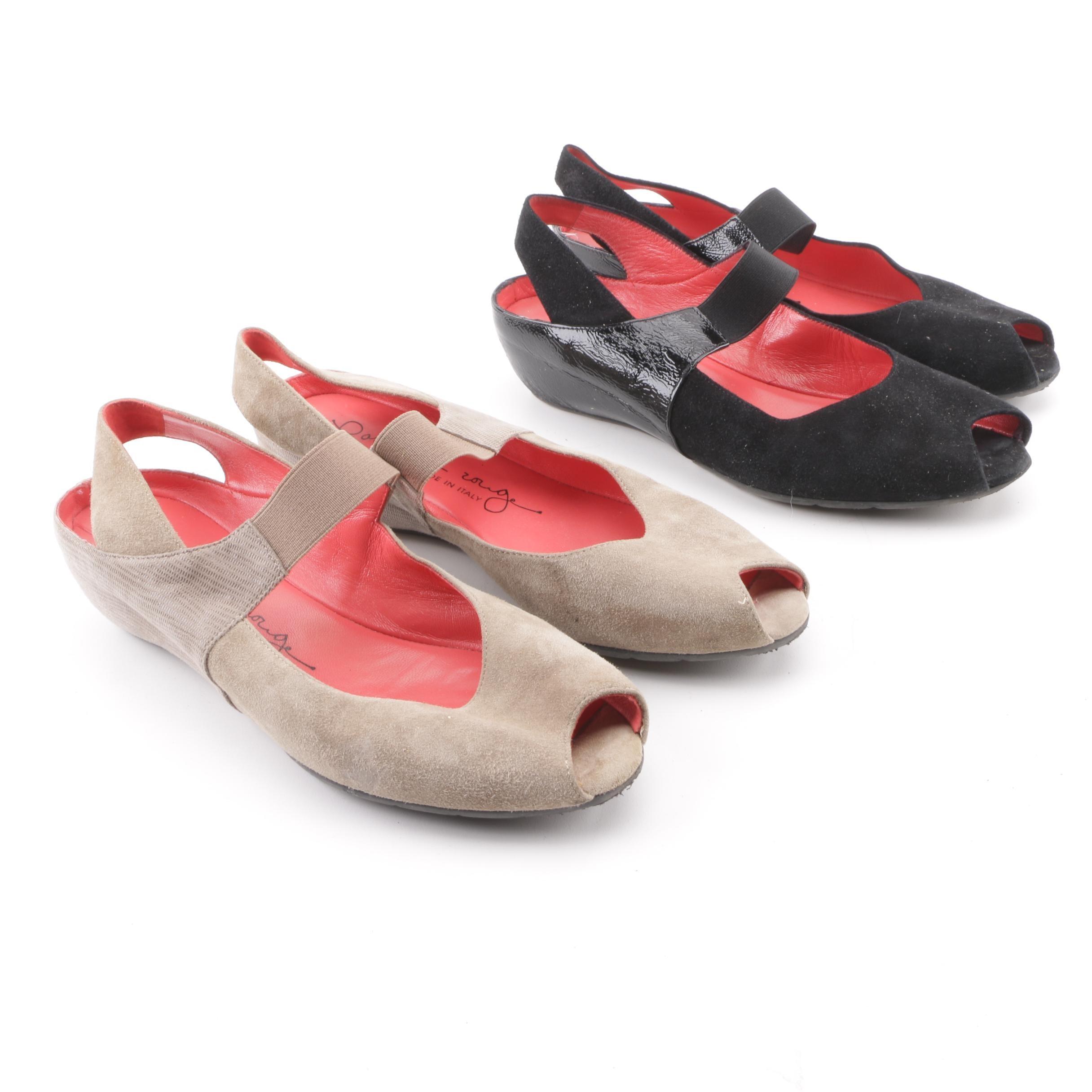 Pas de Rouge Black and Beige Suede Peep-Toe Slingback Wedge Flats
