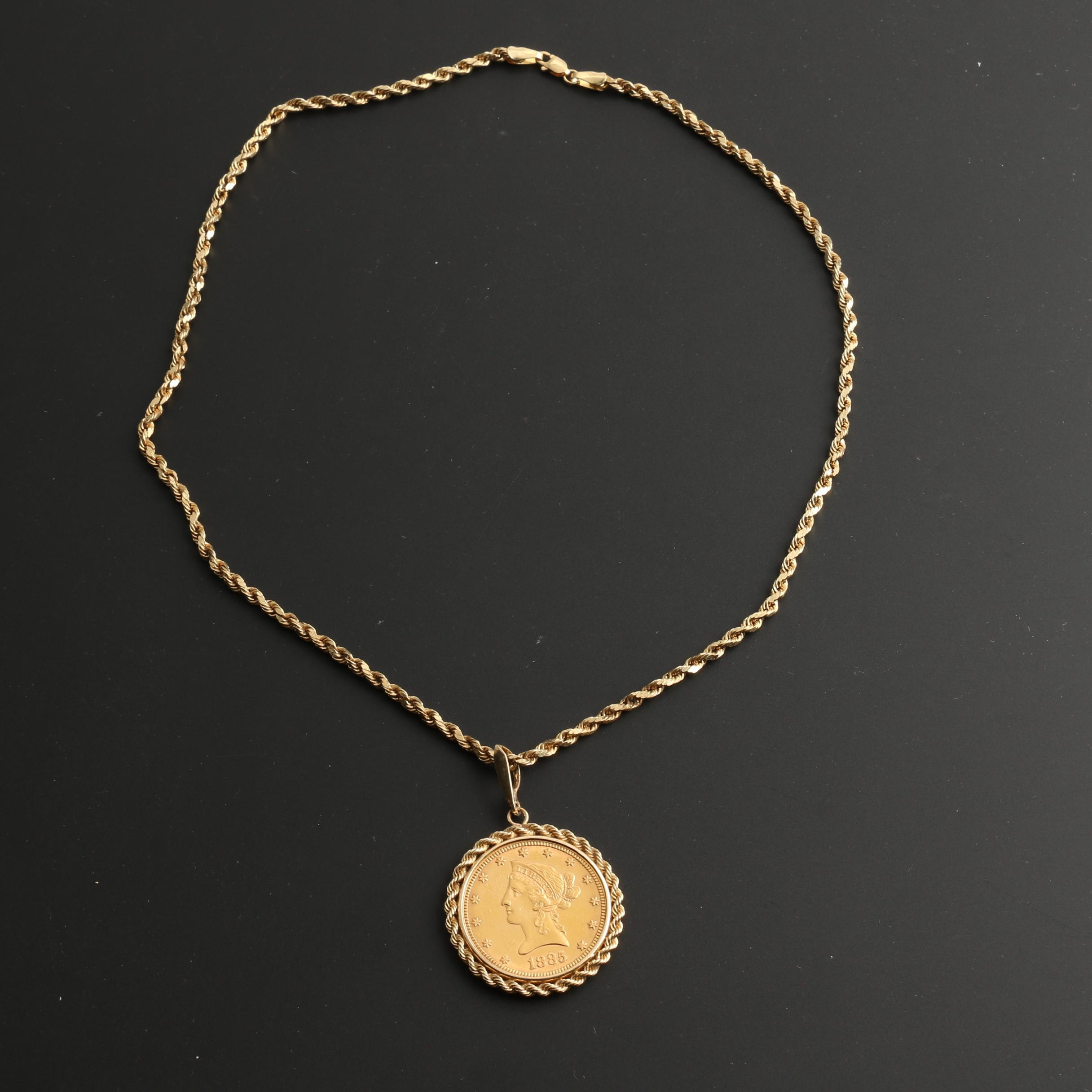1885 Liberty Head $10 Gold Coin Necklace